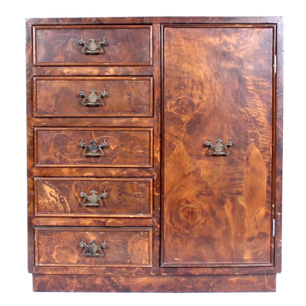 Vintage Diminutive Italian Burlwood Veneered Cabinet