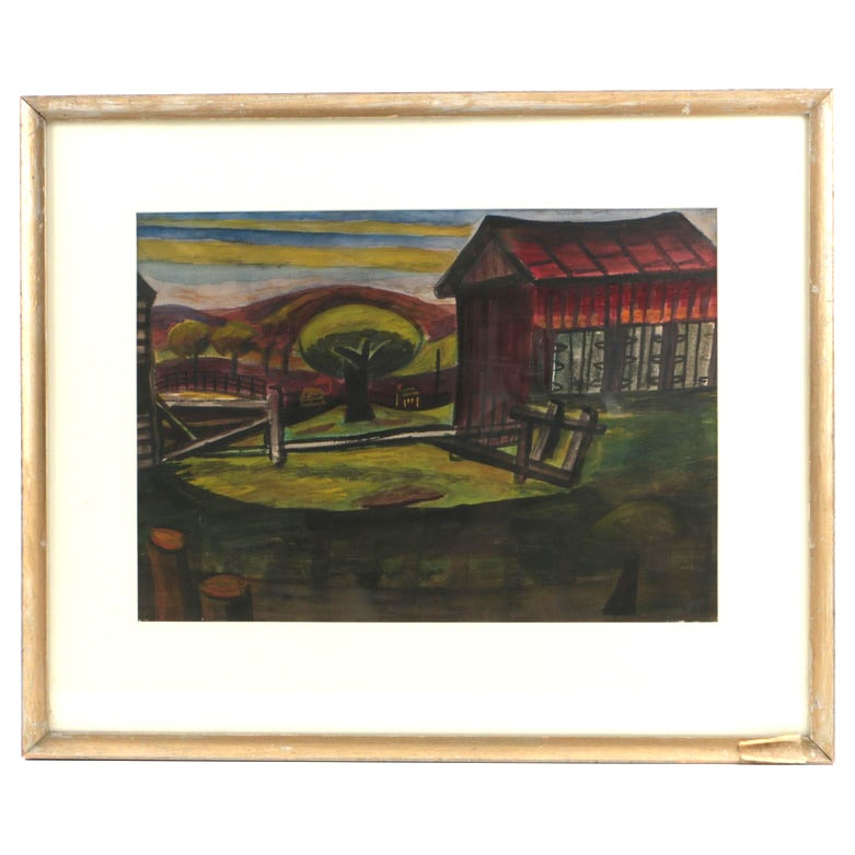 Esther Phillips Watercolor Painting on Paper Farm Scene