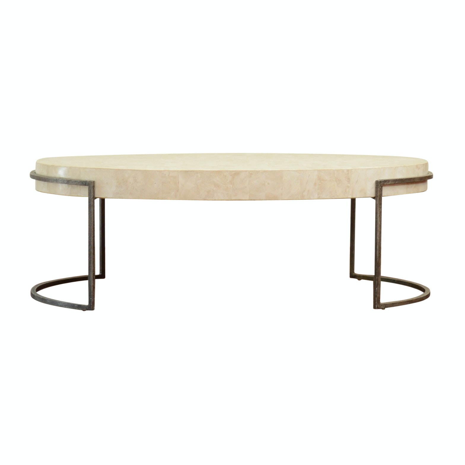 Contempoary Oval Coffee Table with Faux Marble Laminate