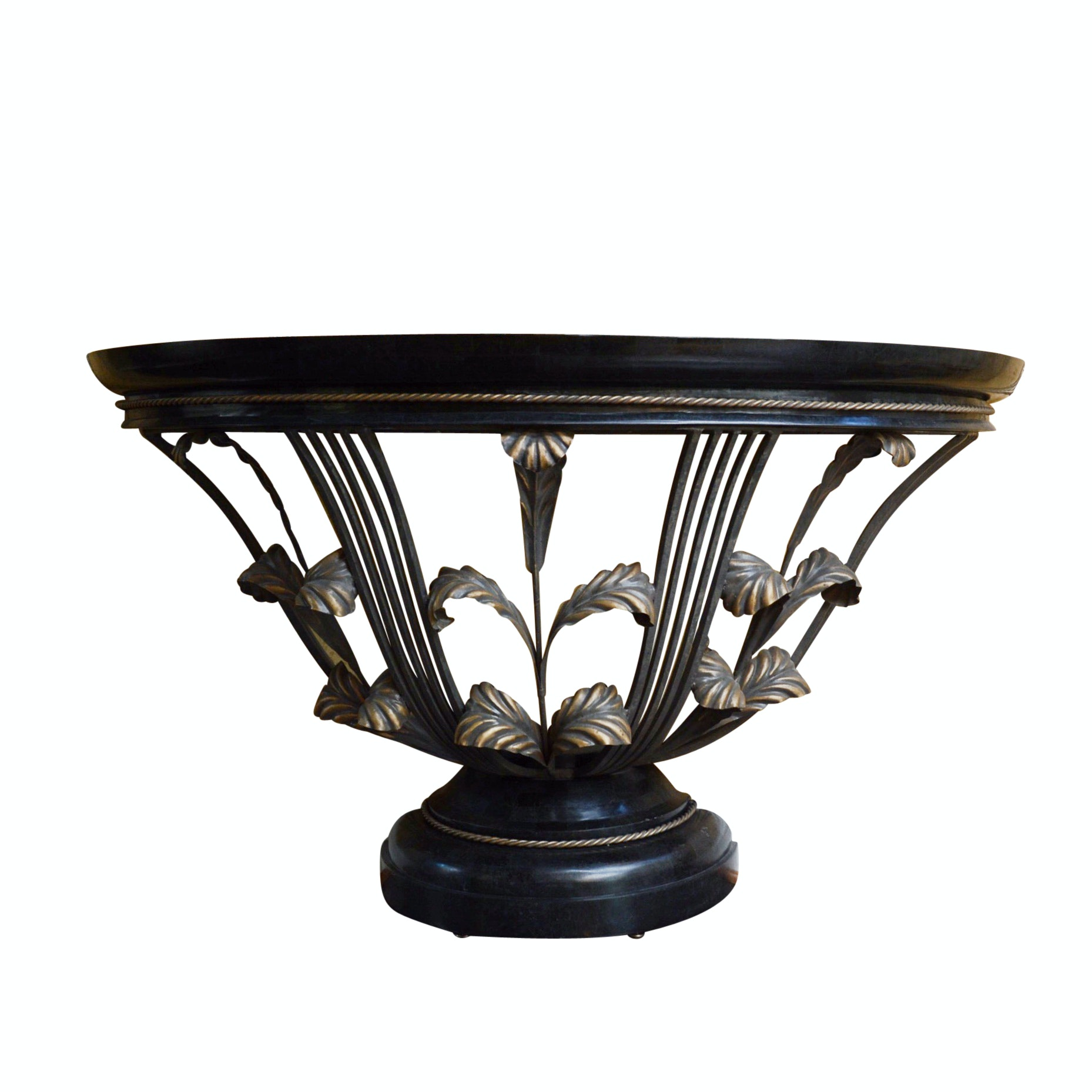 Demilune Entry Table with Black Granite Laminate