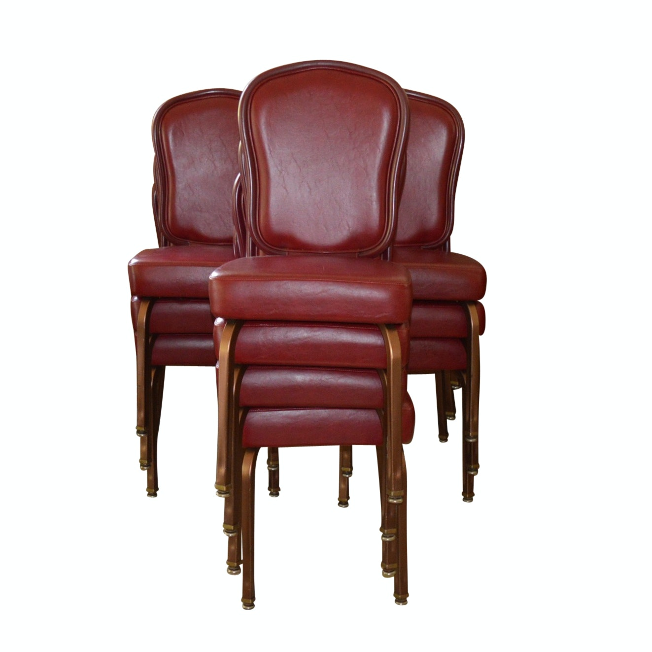 Ten Gasser Red Cushioned Stackable Chairs