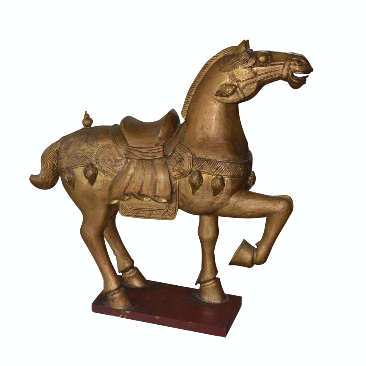 Hand Carved Wooden Roman Horse Statue