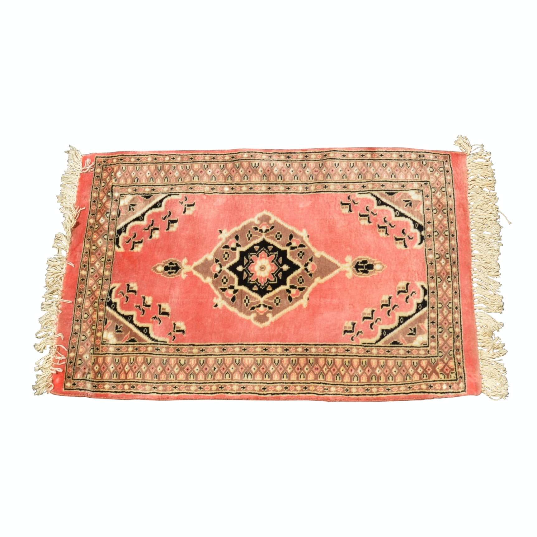Hand-Knotted Pakistani Jaldar Bokhara Accent Rug