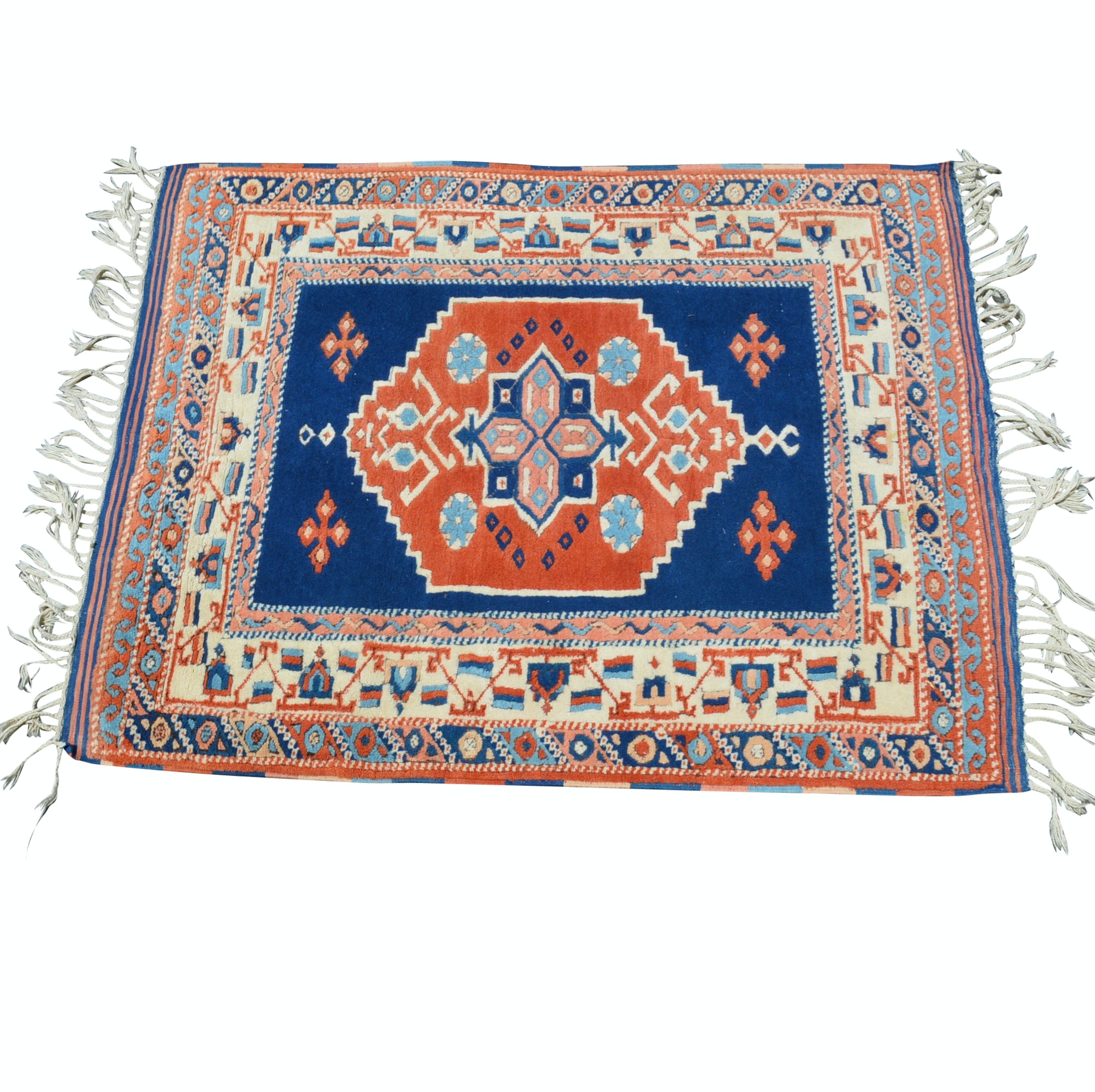 Hand-Knotted Kazak-Style Wool Area Rug