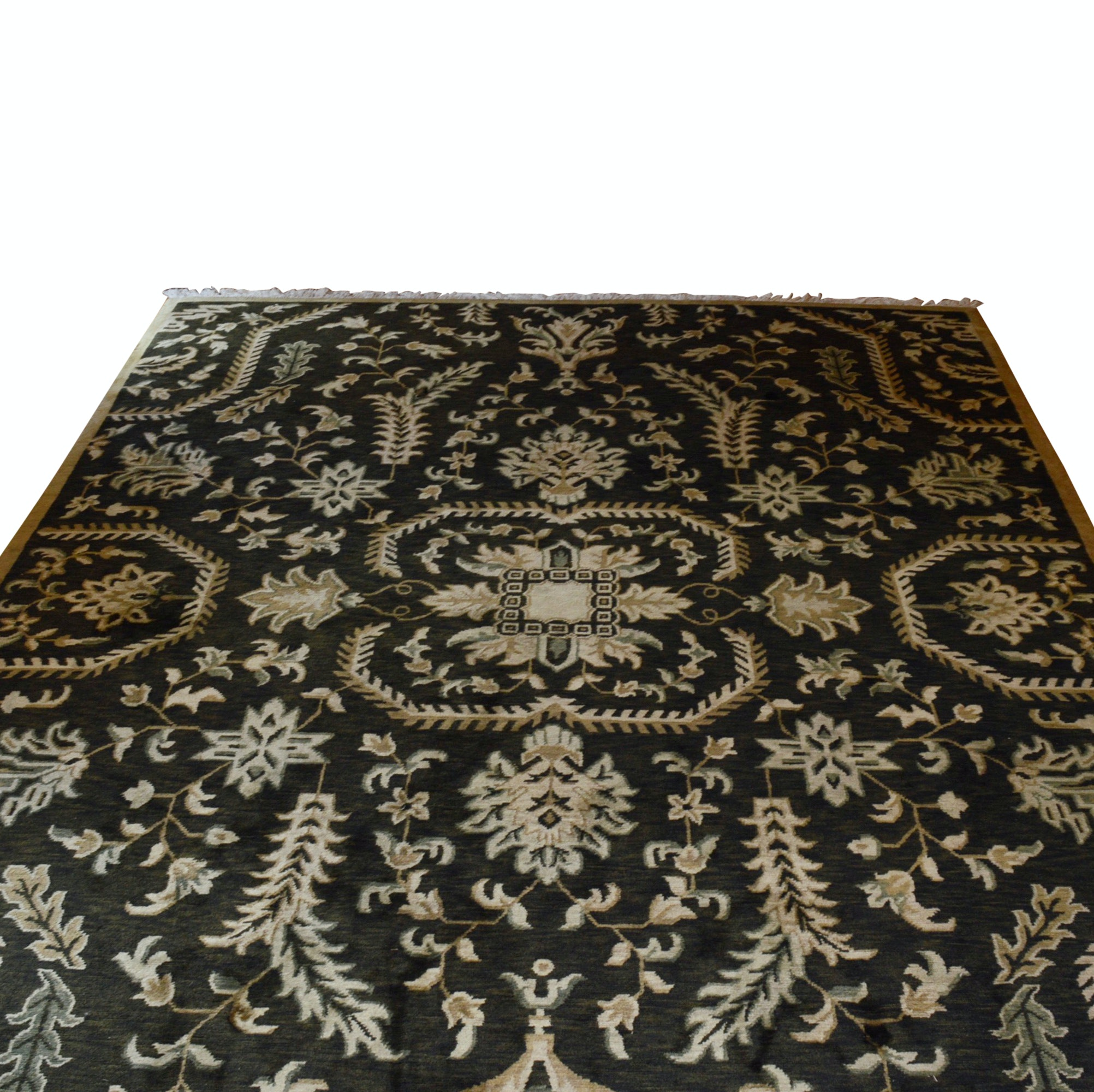 Handwoven Indo-Persian Floral Wool Area Rug