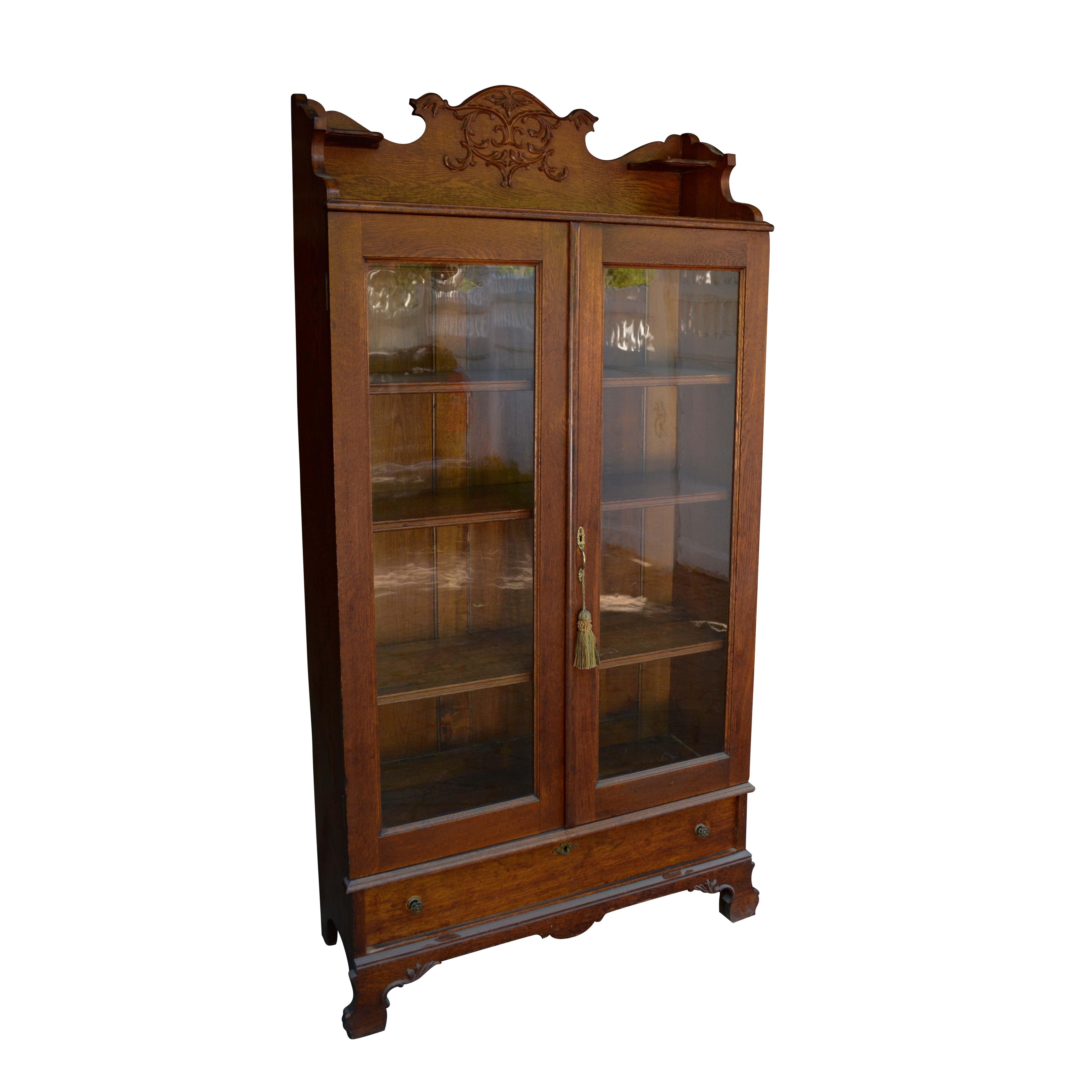 Vintage Glass Front Oak Curio Cabinet ...