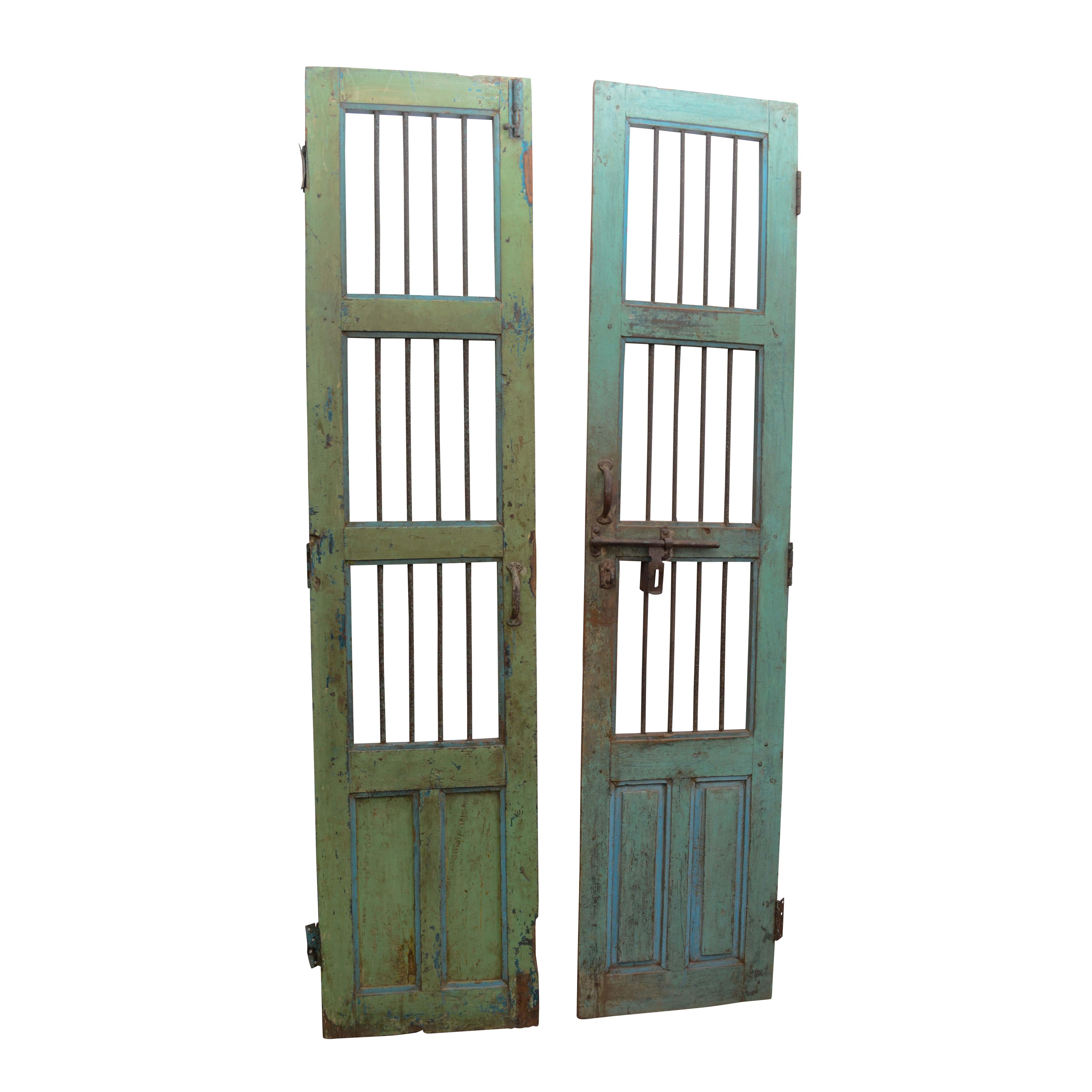 Vintage Painted Wood and Metal Doors