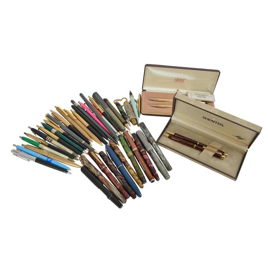 Vintage Pen and Pencil Collection with Art Deco, Cross and Shaeffer
