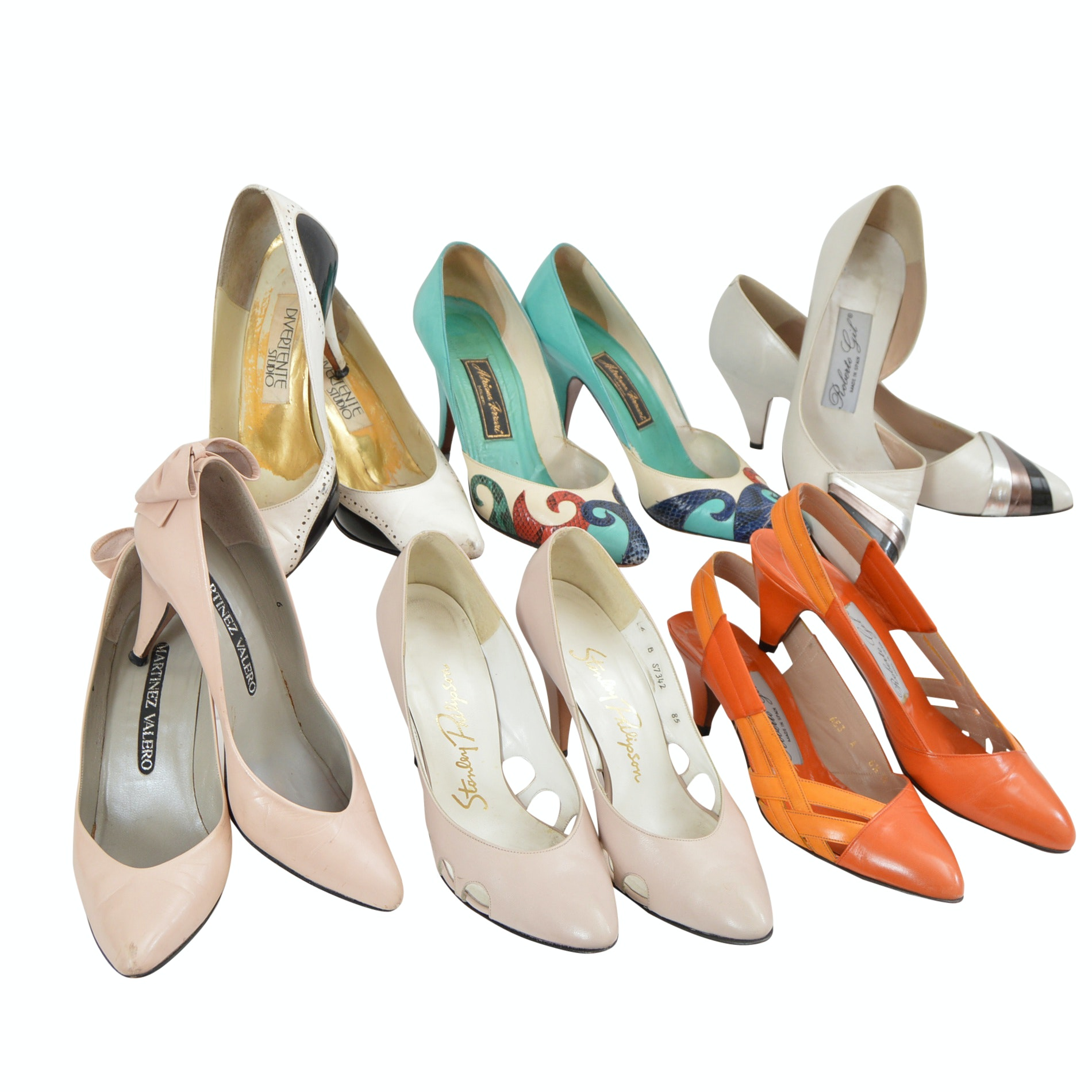 Women's 1960s Spanish-Made Leather High Heel Shoes Including Martinez Valero