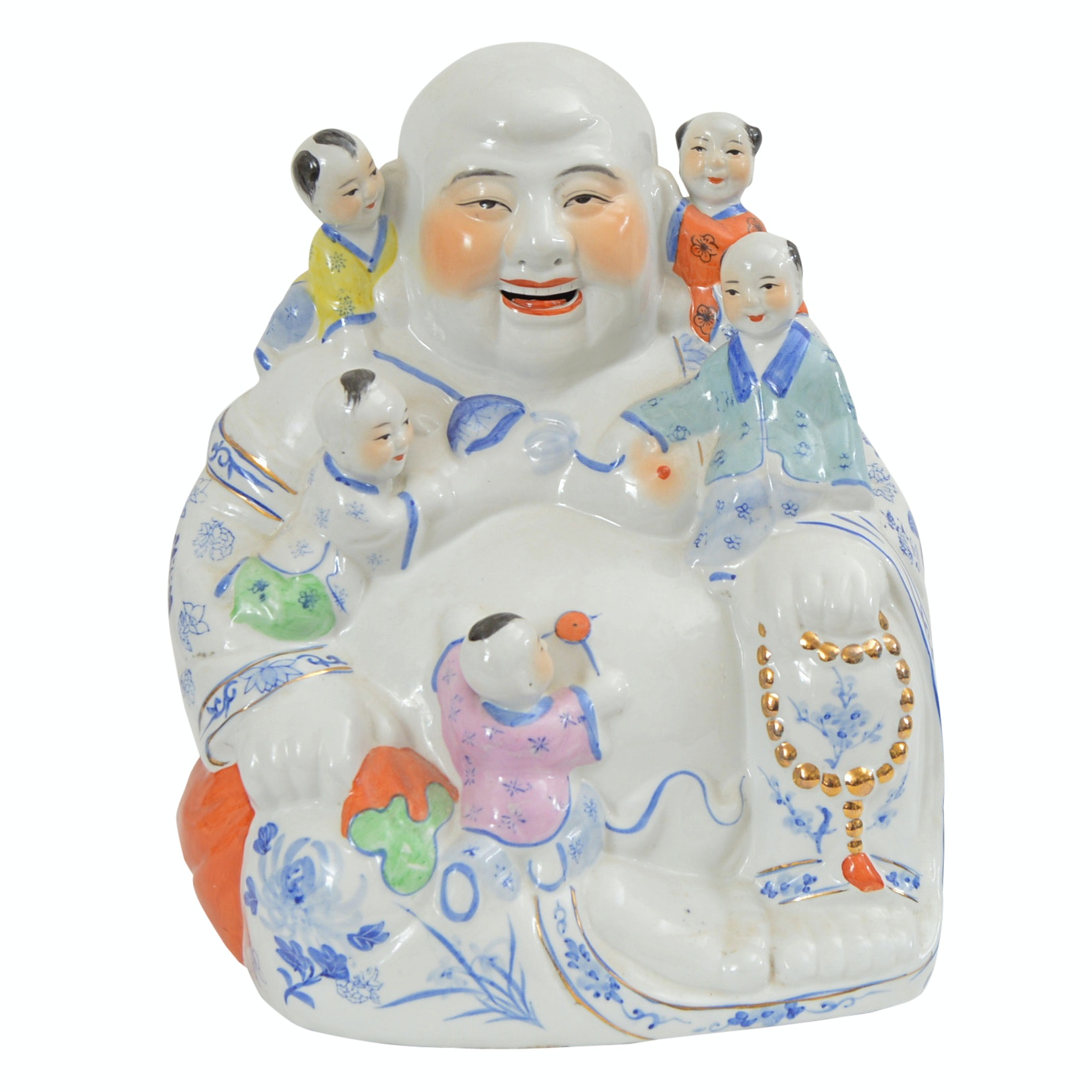 Vintage Laughing Budai with Five Children