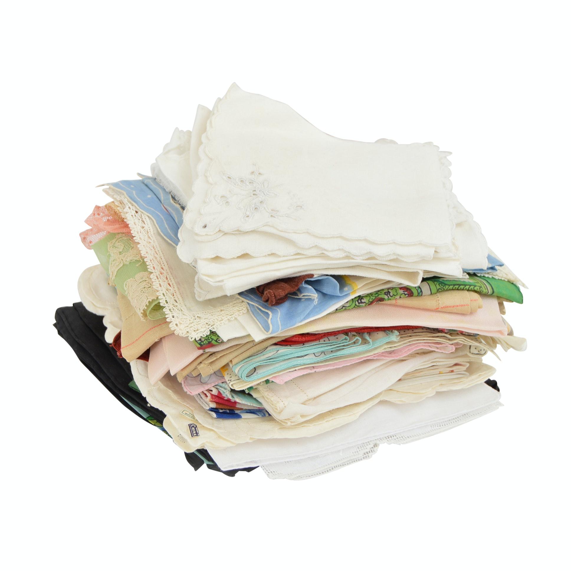 Group of Eighty Vintage Handkerchiefs