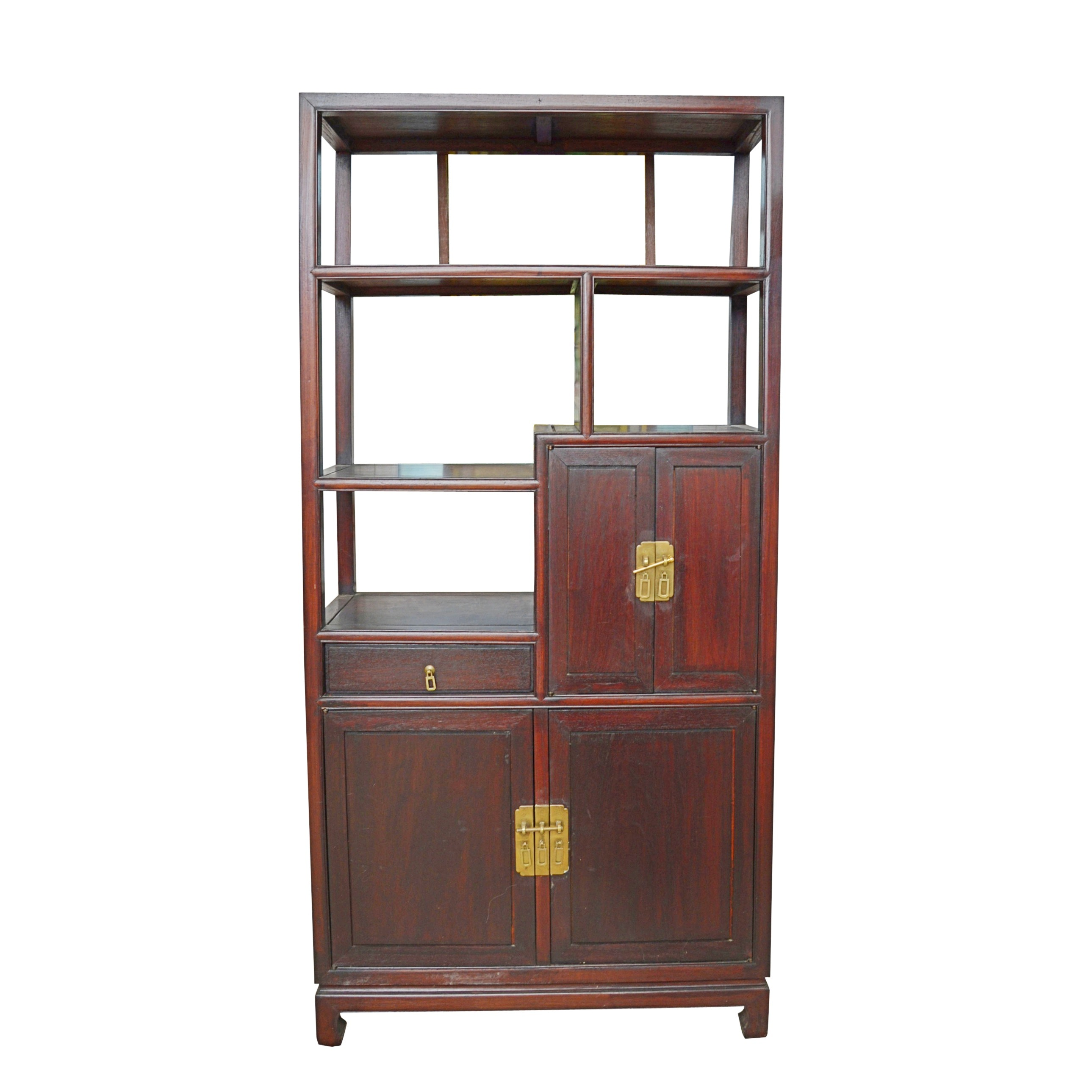 Vintage Asian Inspired Bookcase Cabinet