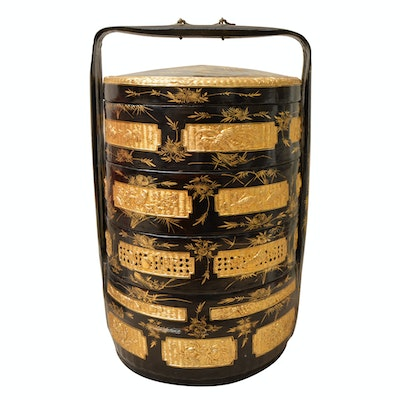 Vintage Chinese Lacquerware Rattan Stacking Wedding Basket