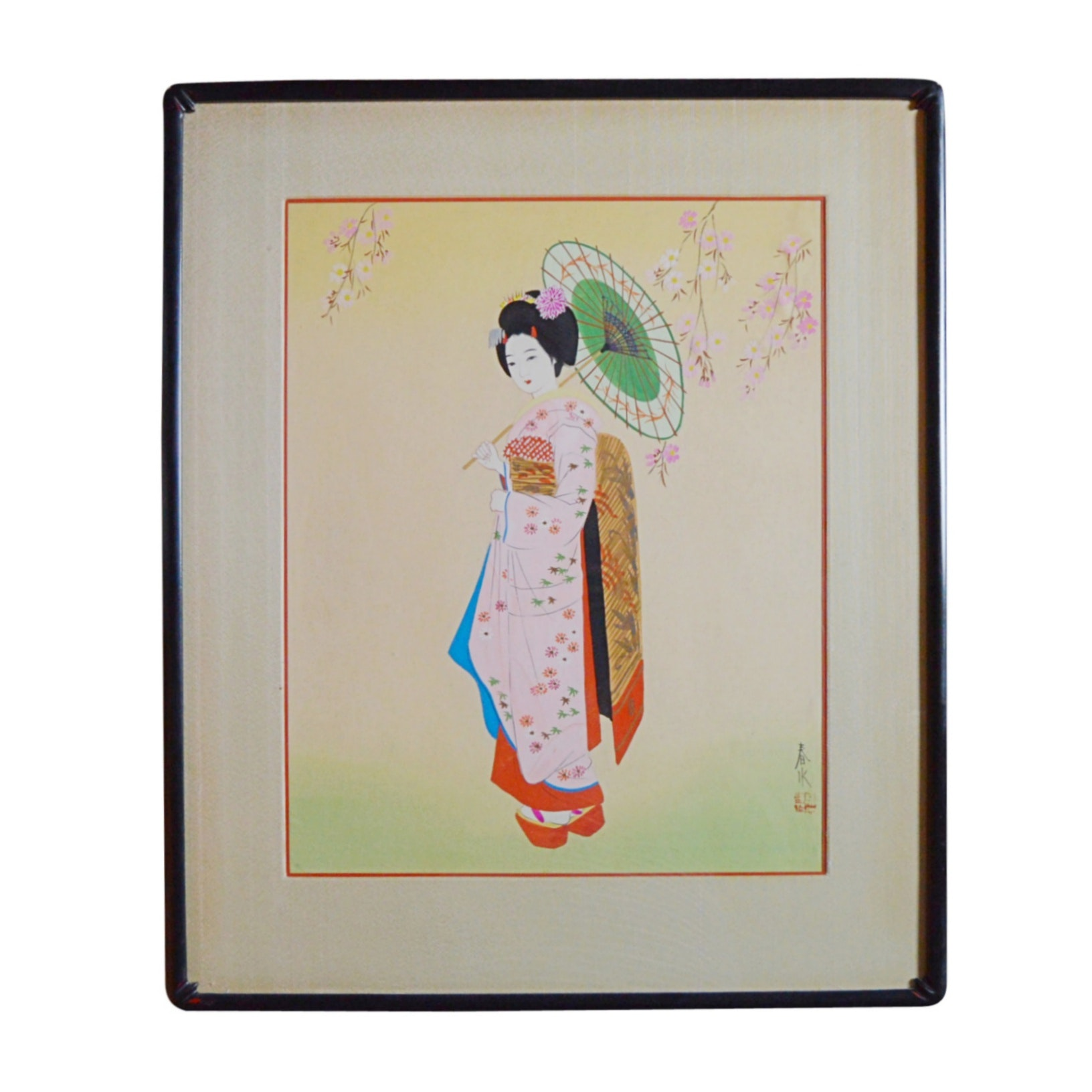Original Signed Japanese Painting on Silk