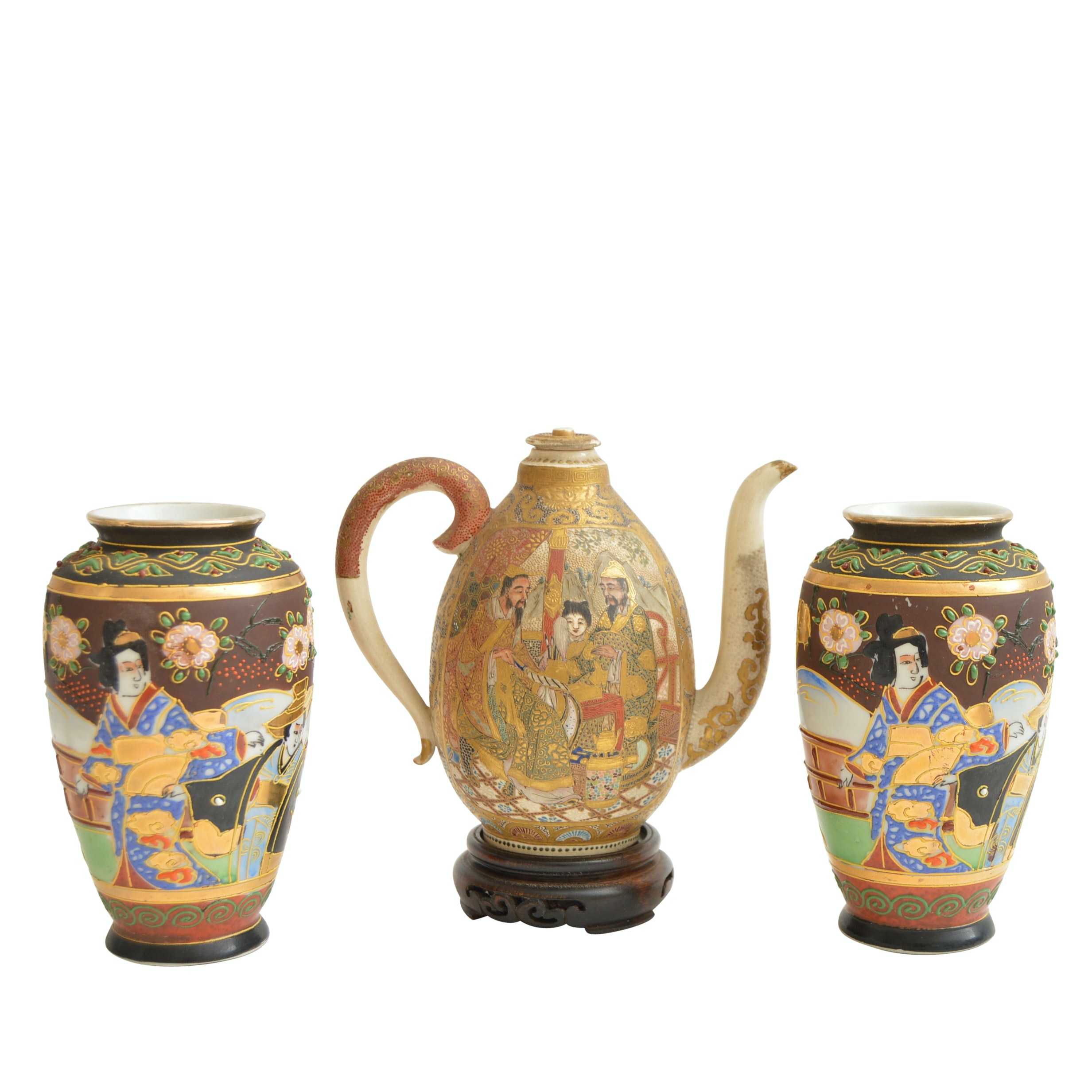 Vintage Satsuma Japanese Vases and Teapot