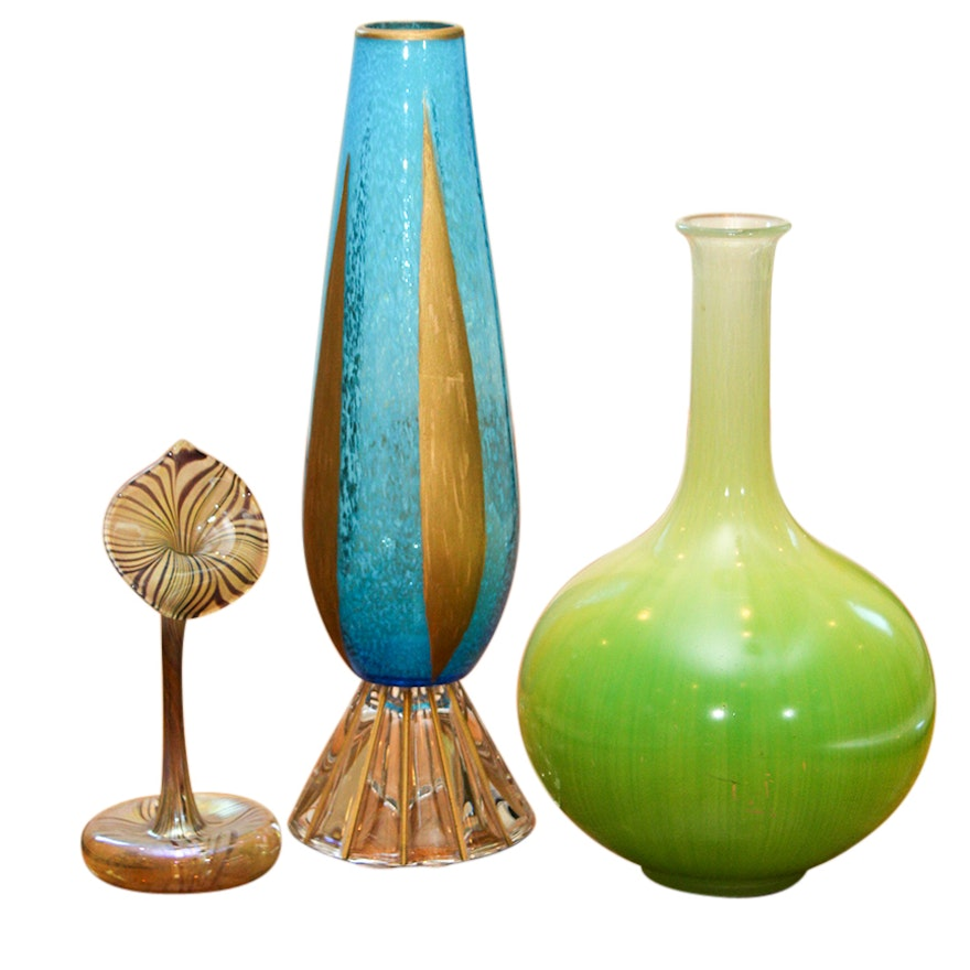 Hand Blown Art Glass Including A Jack In The Pulpit Vase Ebth