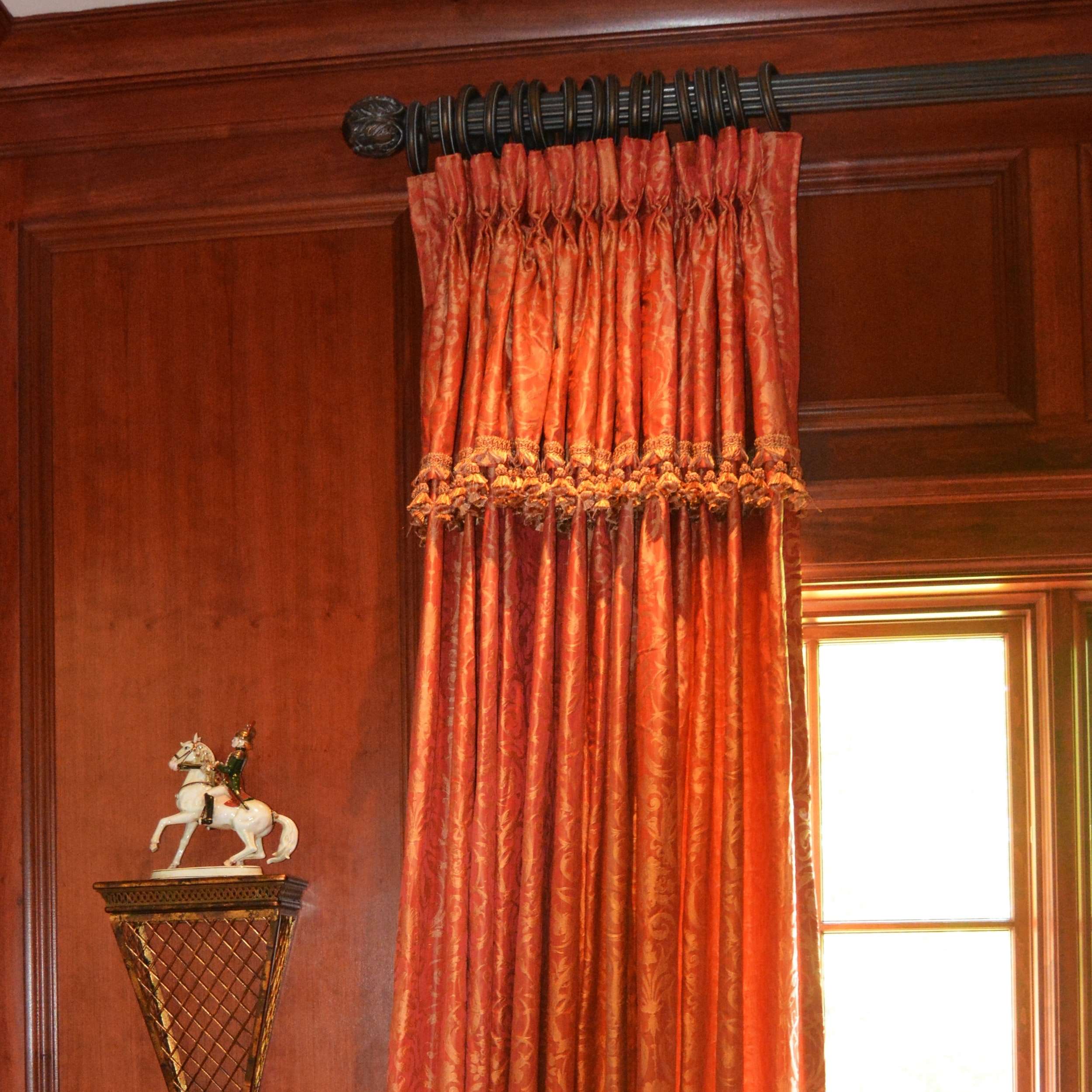 Berry Damask Style With Fringe Lined Drapery Panels