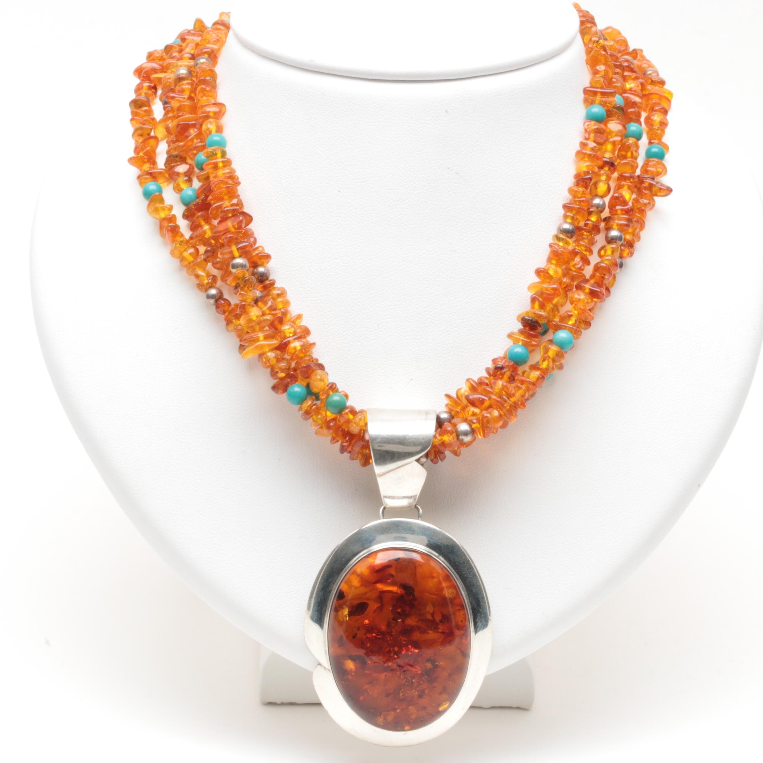 Jay King Desert Rose Trading Sterling Silver Amber, Turquoise and Pearl Necklace