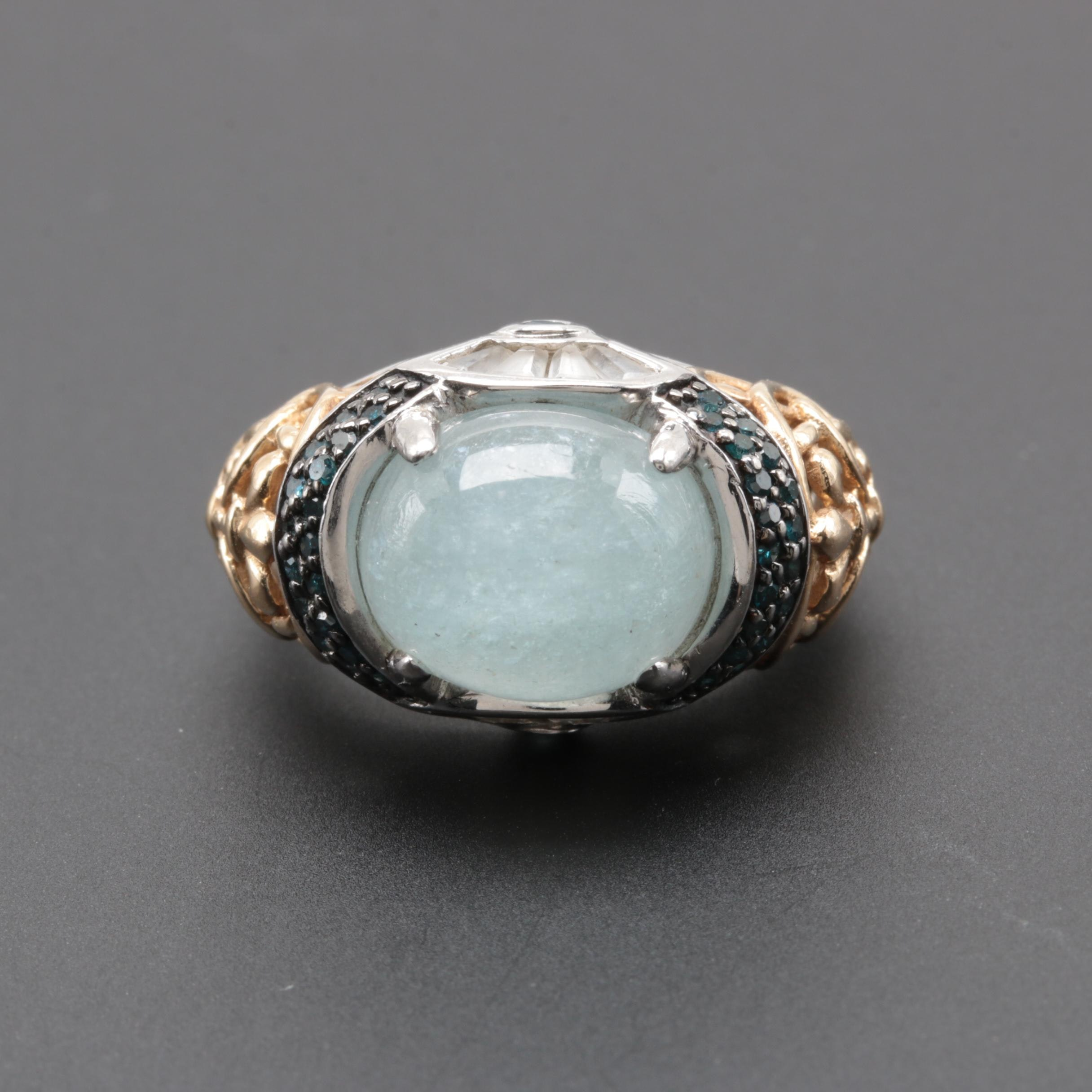 Sterling Silver Aquamarine and Blue Diamond Ring