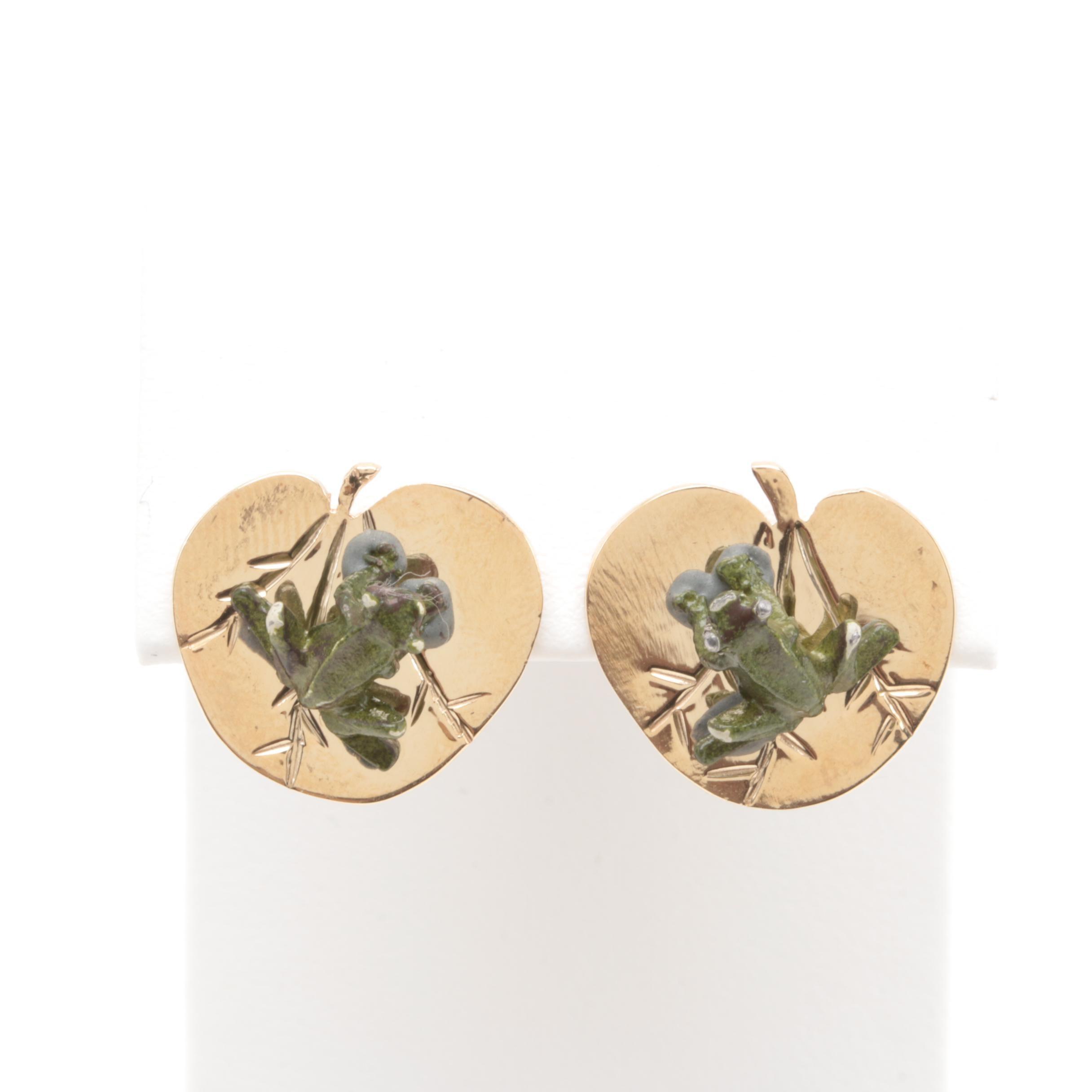 14K Yellow Gold Enamel Earrings