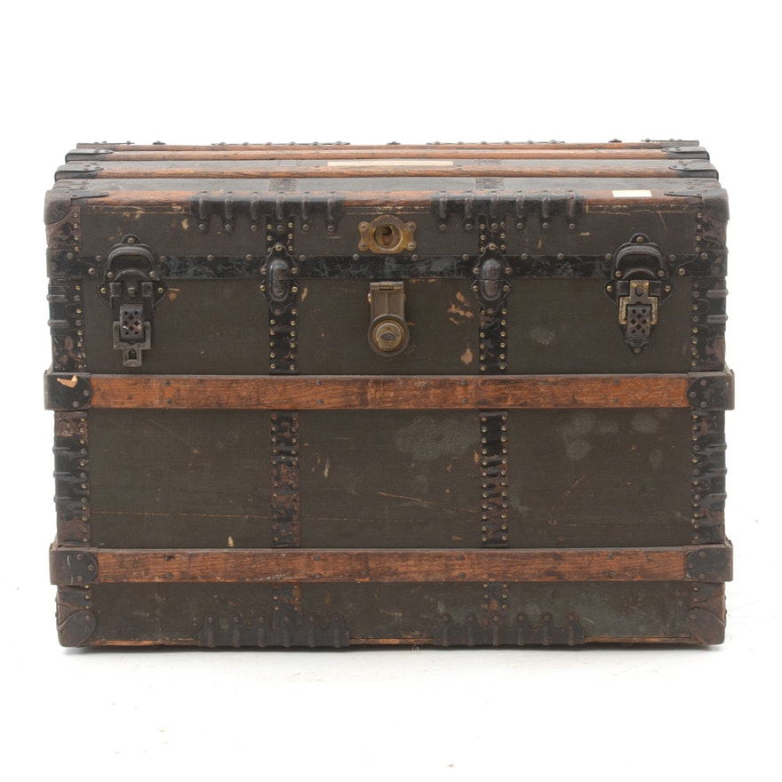 Vintage Wood And Metal Trunk With Leather Handles