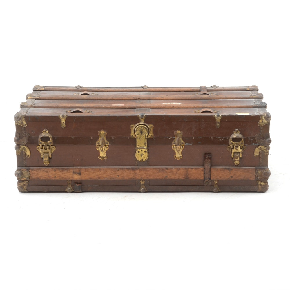 Vintage Wood And Metal Travel Trunk