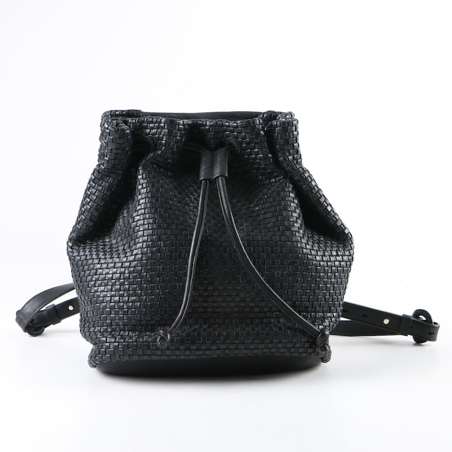 af2beea34e0 Cole Haan Black Woven Leather Drawstring Backpack : EBTH