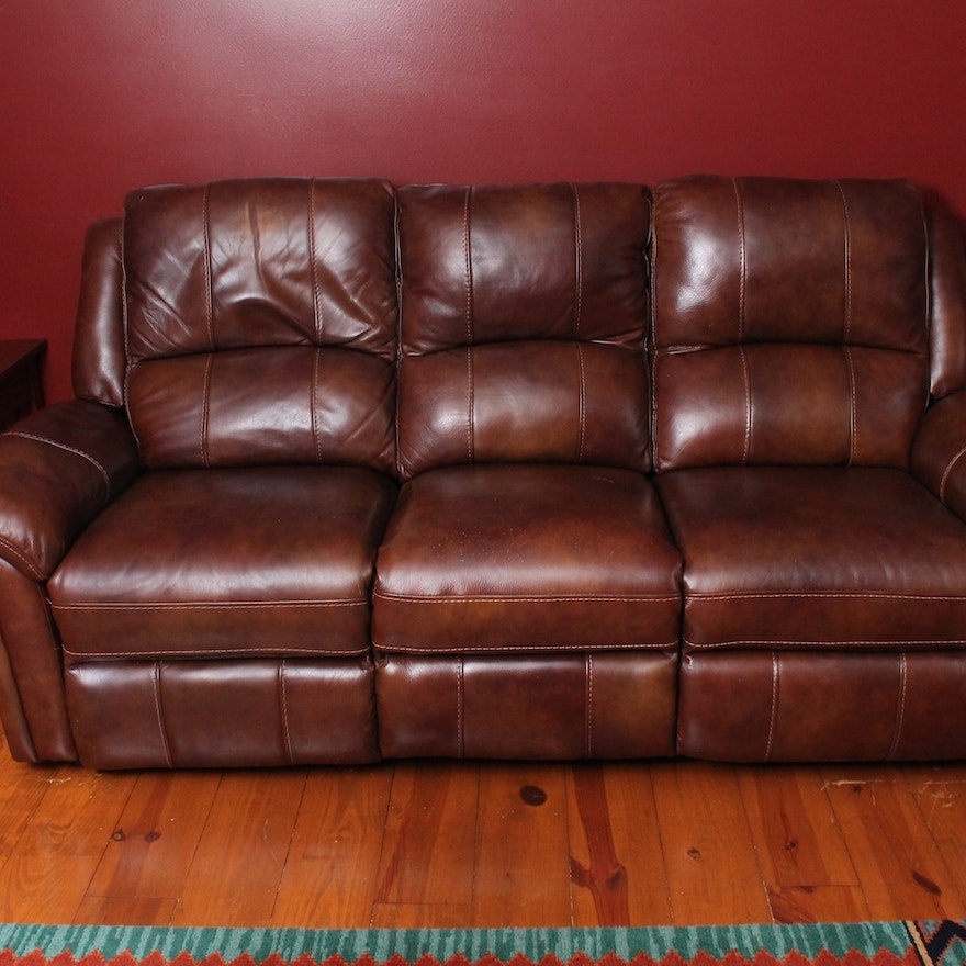 Leather Upholstered Electric Recliner Sofa : EBTH