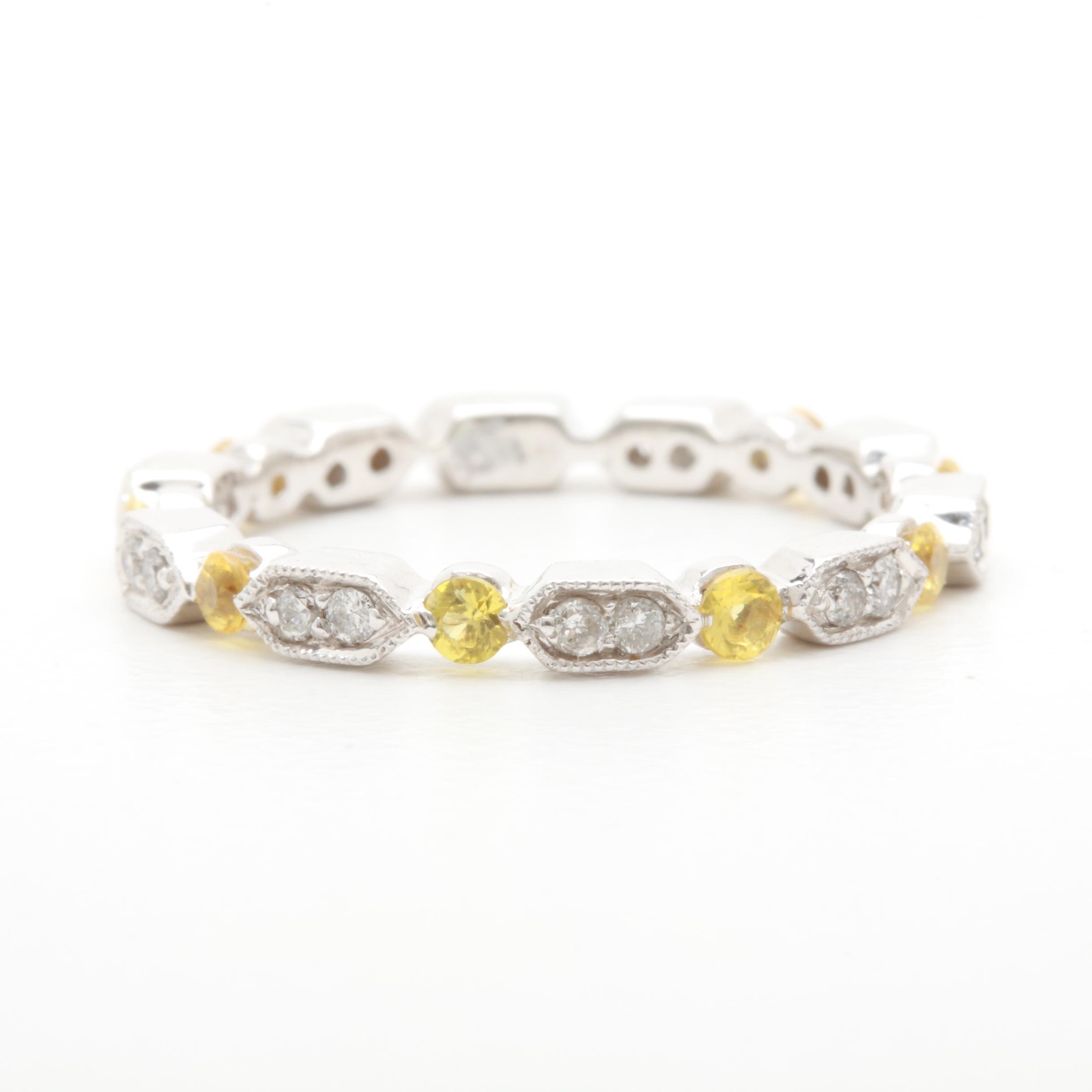 18K White Gold Diamond and Yellow Sapphire Ring