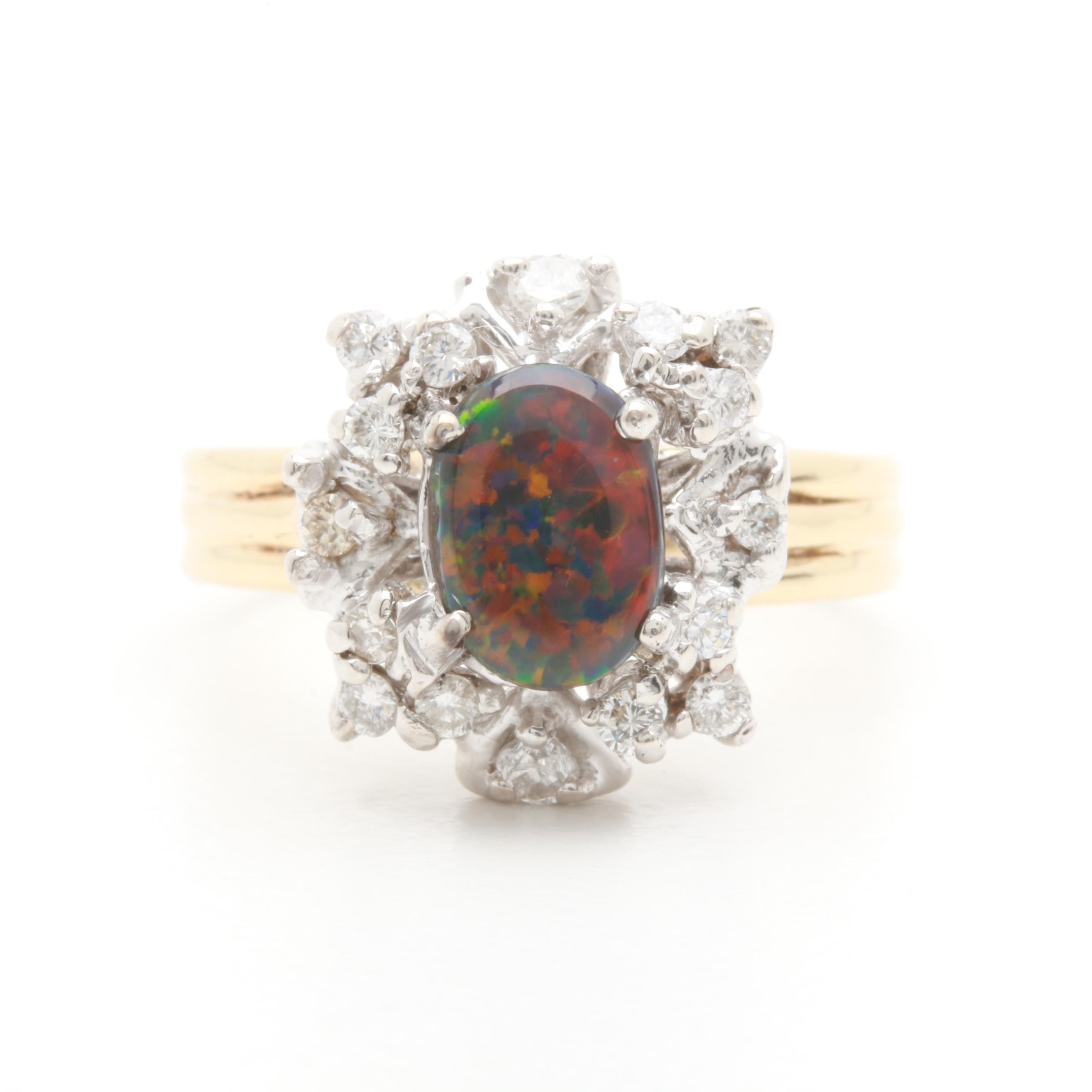 14K Yellow Gold Black Opal Doublet and Diamond Ring with White Gold Accents