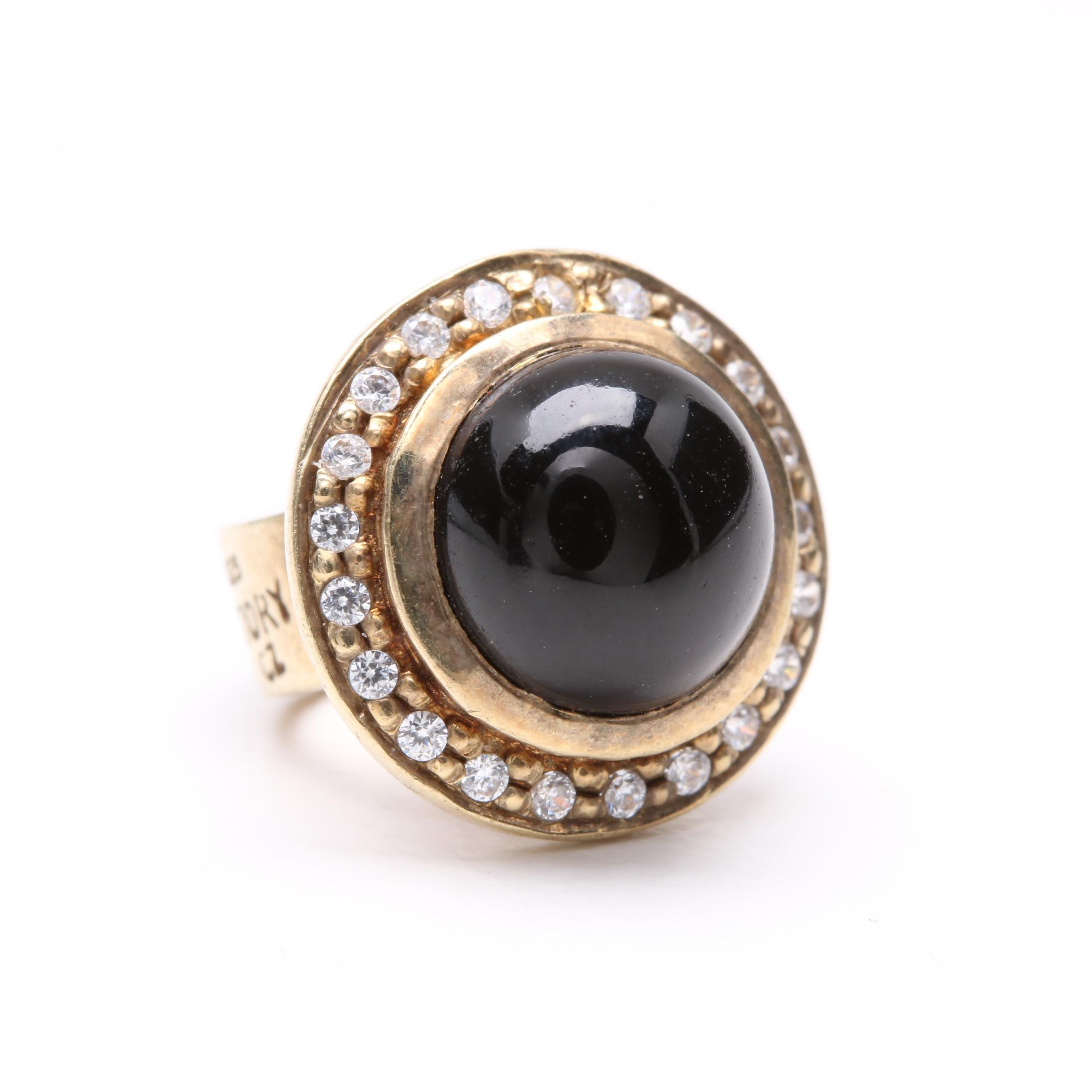 Story Gold Wash on Sterling Silver Black Onyx and Cubic Zirconia Charm