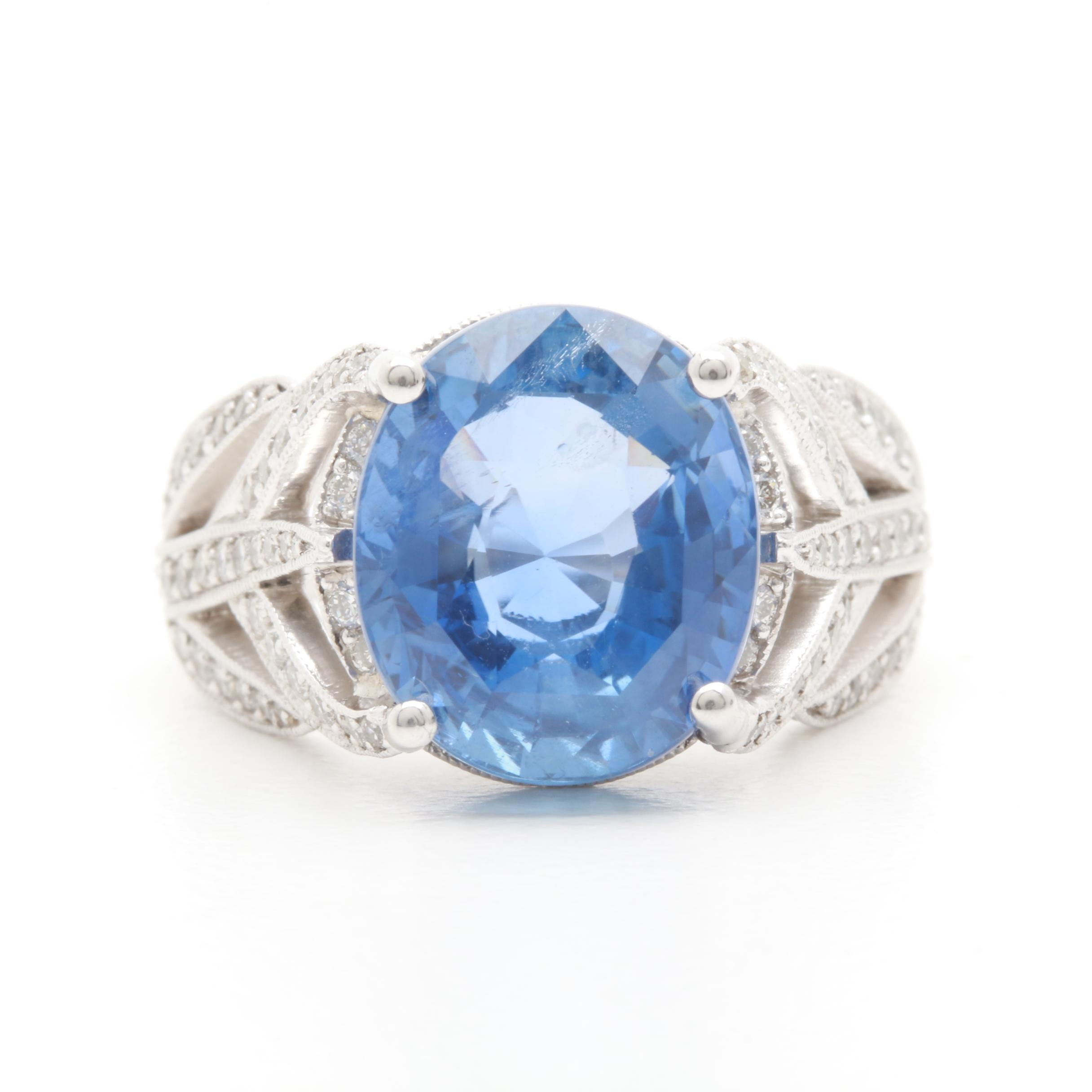 Platinum 7.40 CT Unheated Ceylon Sapphire and 1.24 CTW Diamond Ring With Report