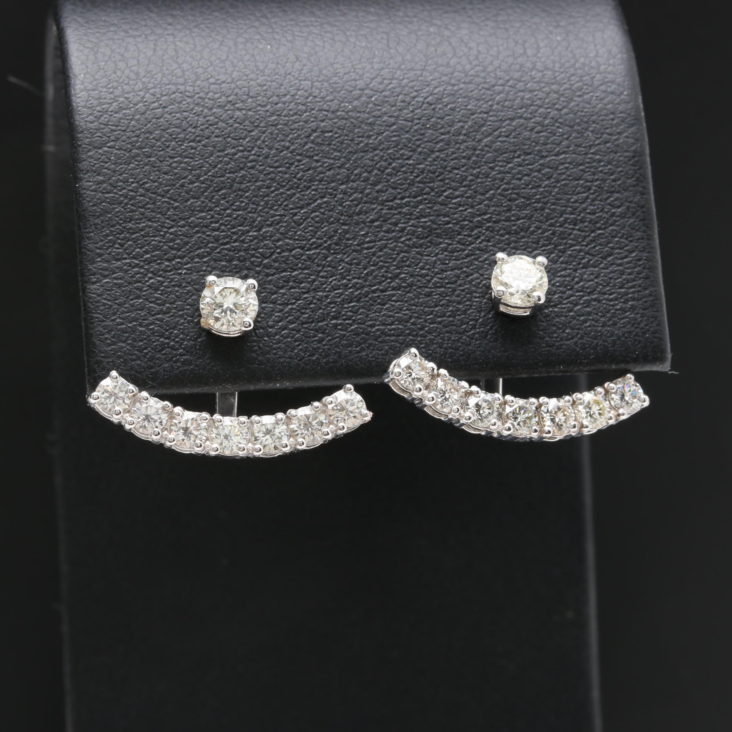 14K White Gold 1.18 CTW Diamond Earrings with Crawler Jackets
