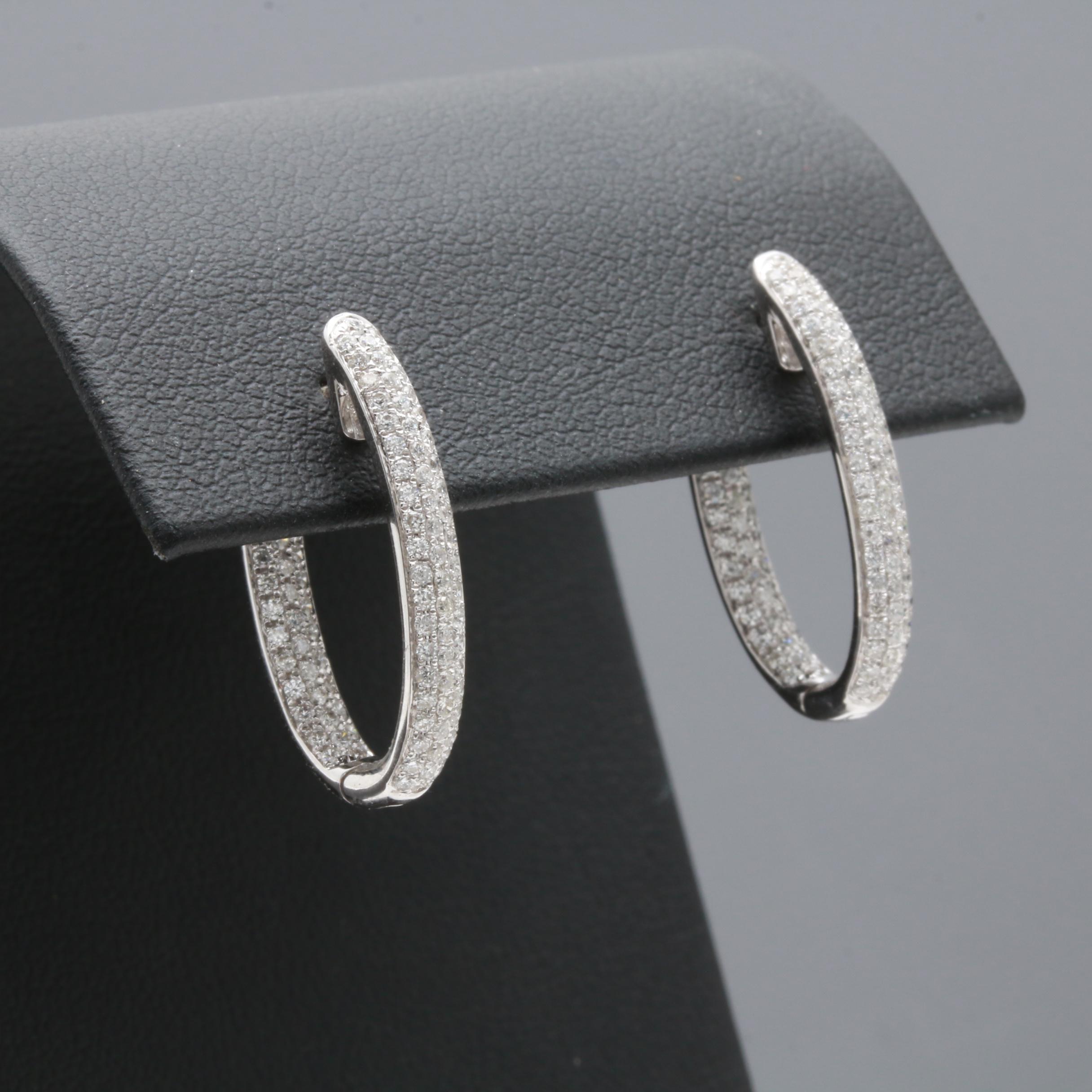 18K White Gold Diamond Inside Out Earrings