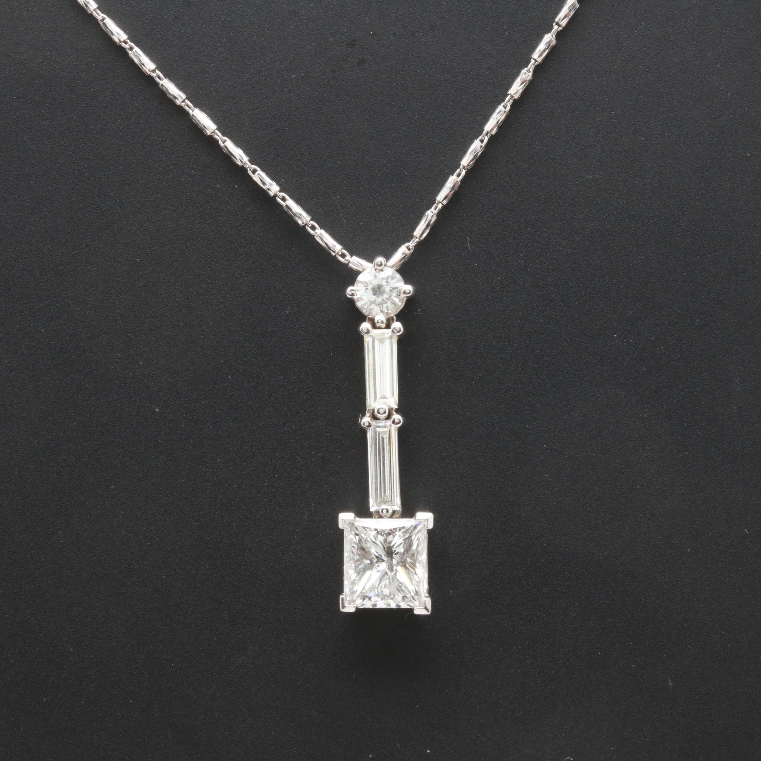 14K and 18K White Gold 2.60 CTW Diamond Pendant Necklace