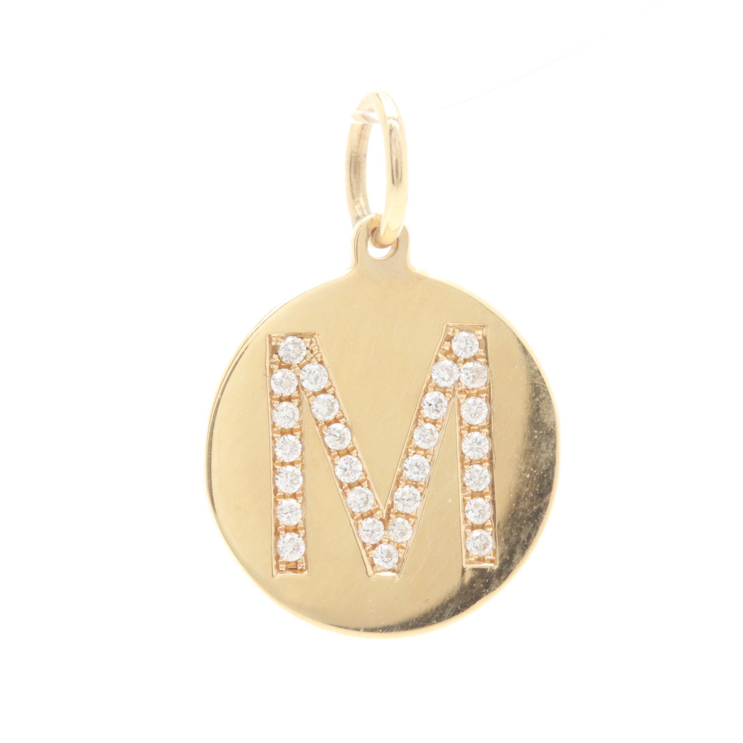 14K Yellow Gold Diamond Monogram Pendant