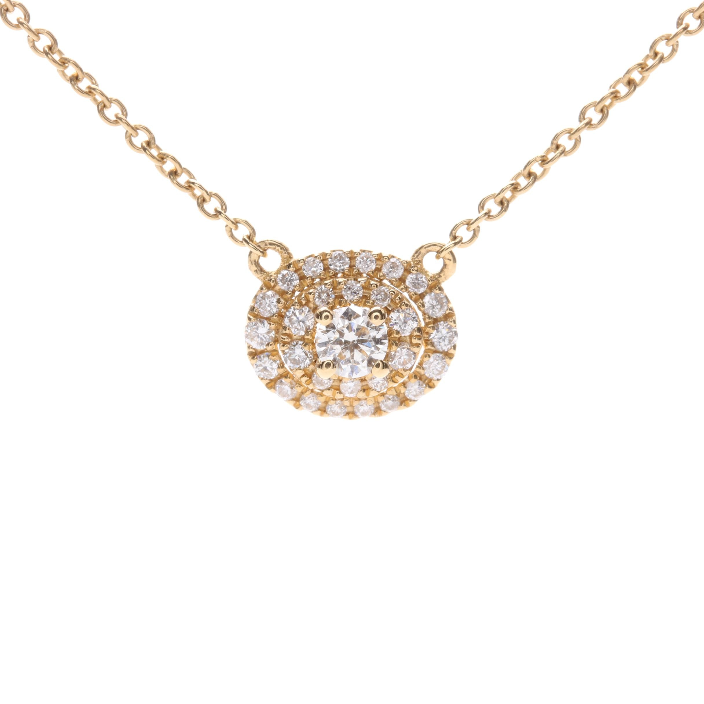 18K Yellow Gold Diamond Pendant Necklace