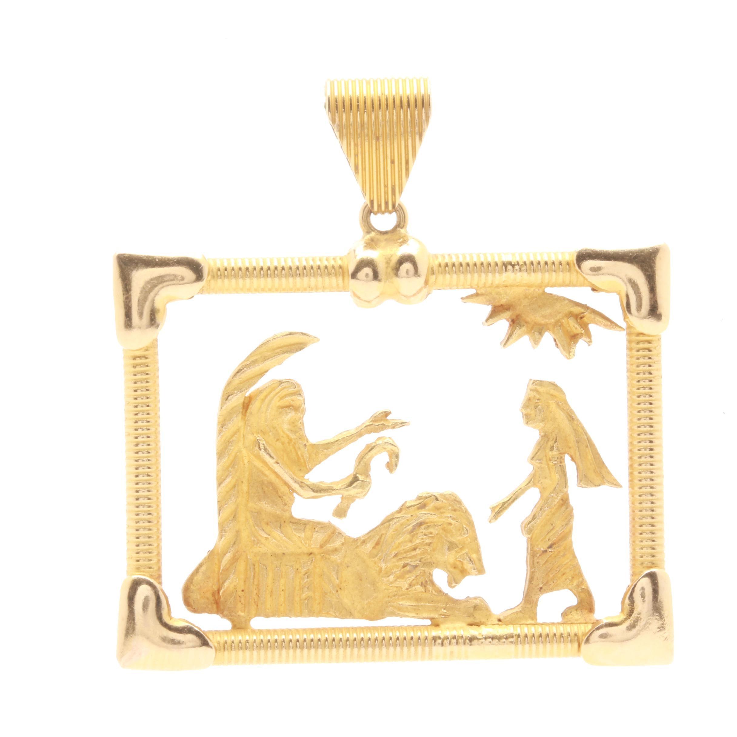 Egyptian Revival Style 14K Yellow Gold Pendant