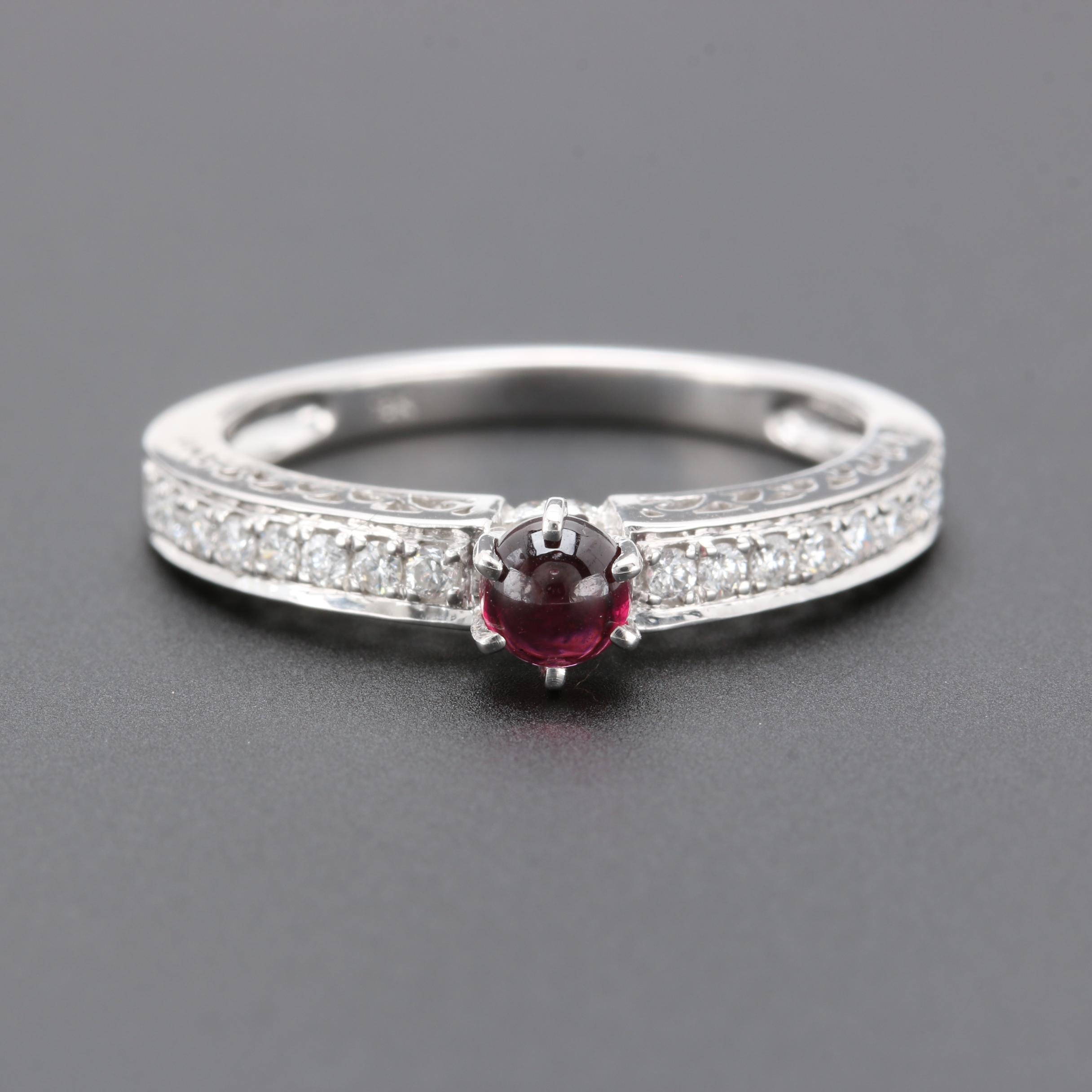 18K White Gold Rhodolite Garnet and Diamond Ring
