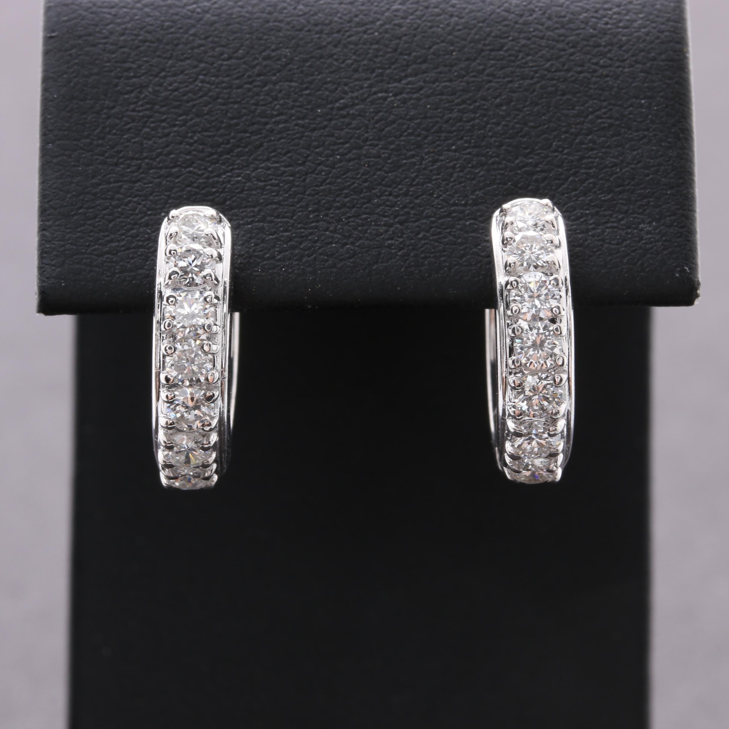 18K White Gold 1.12 CTW Diamond Huggie Earrings