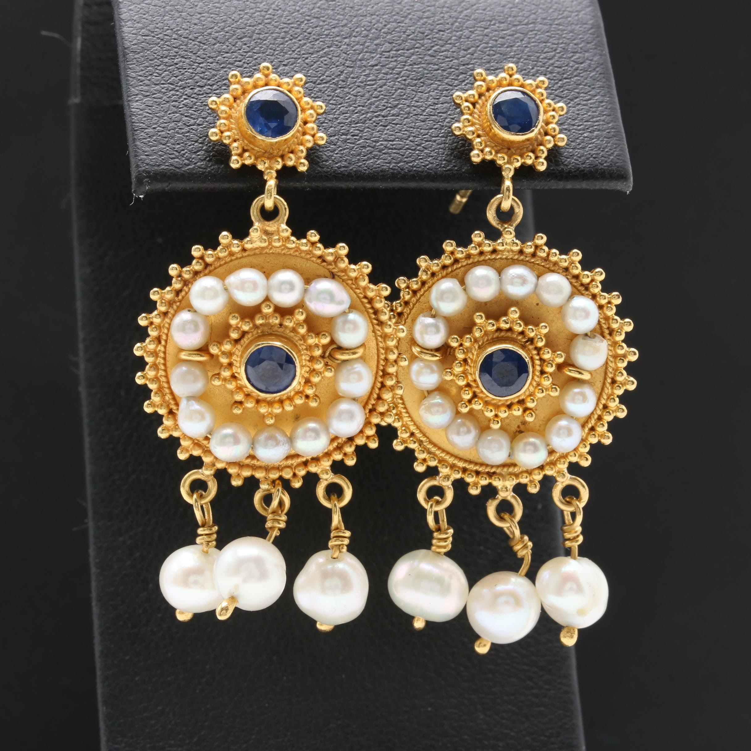 Etruscan Revival Style 14K Yellow Gold Blue Sapphire and Cultured Pearl Earrings