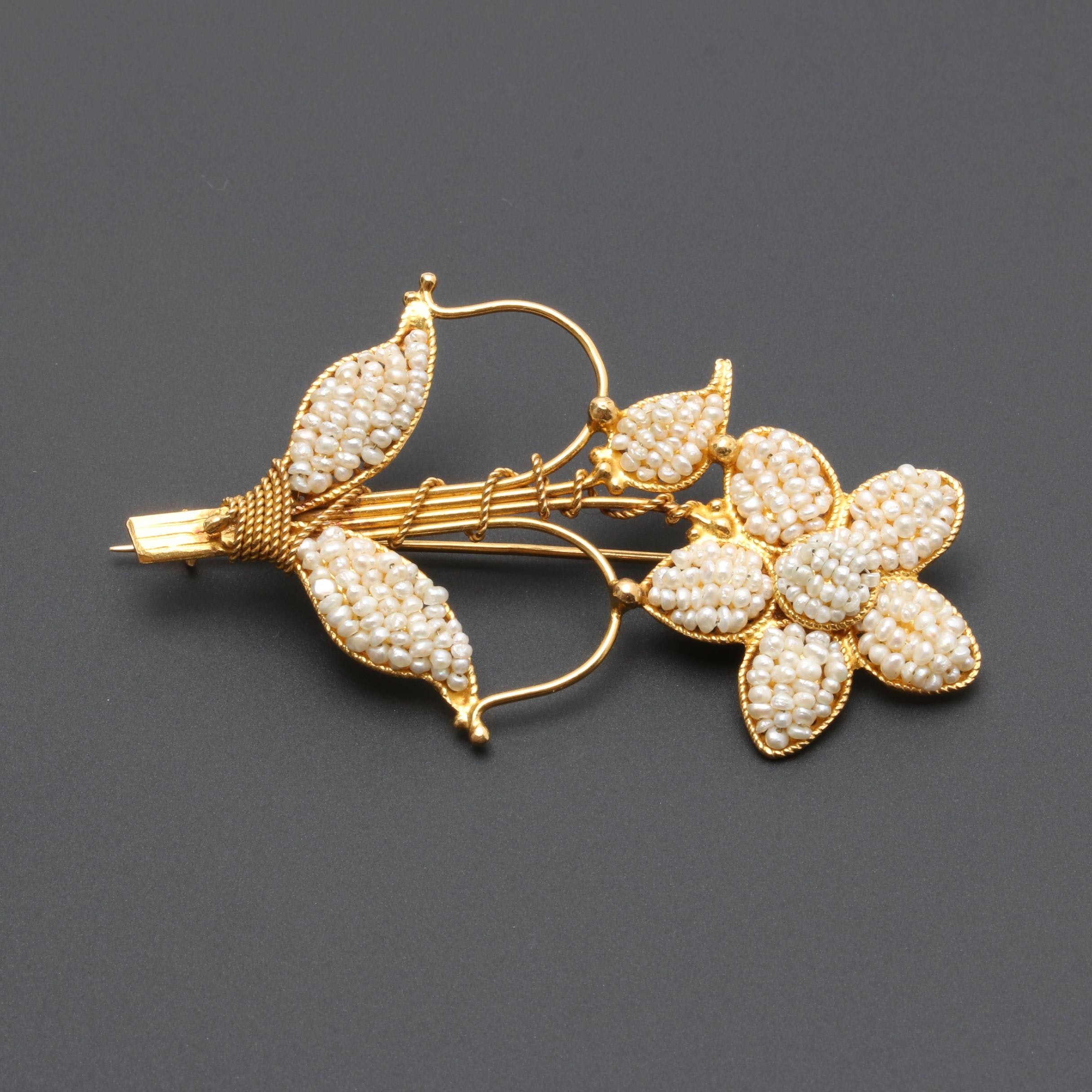 Antique 14K Yellow Gold Seed Pearl Flower Brooch