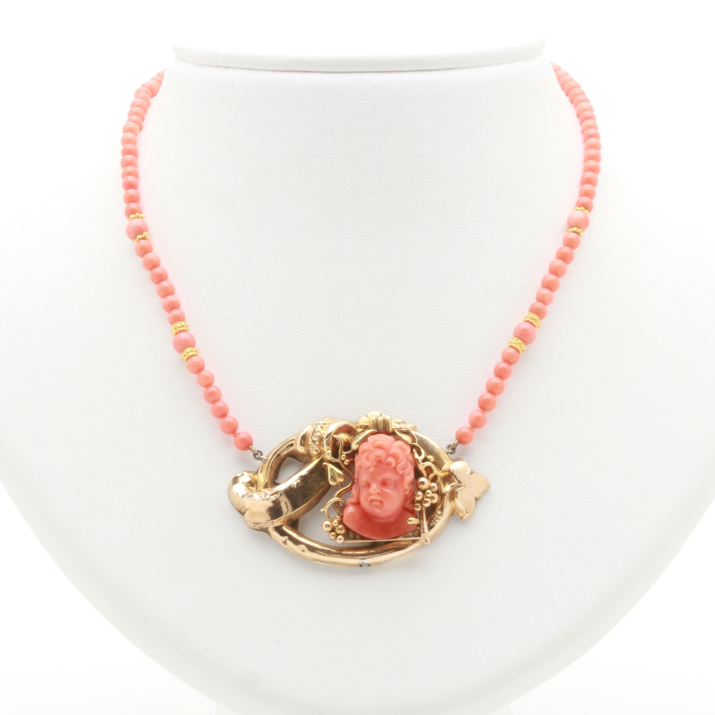 Gold Filled Coral Necklace