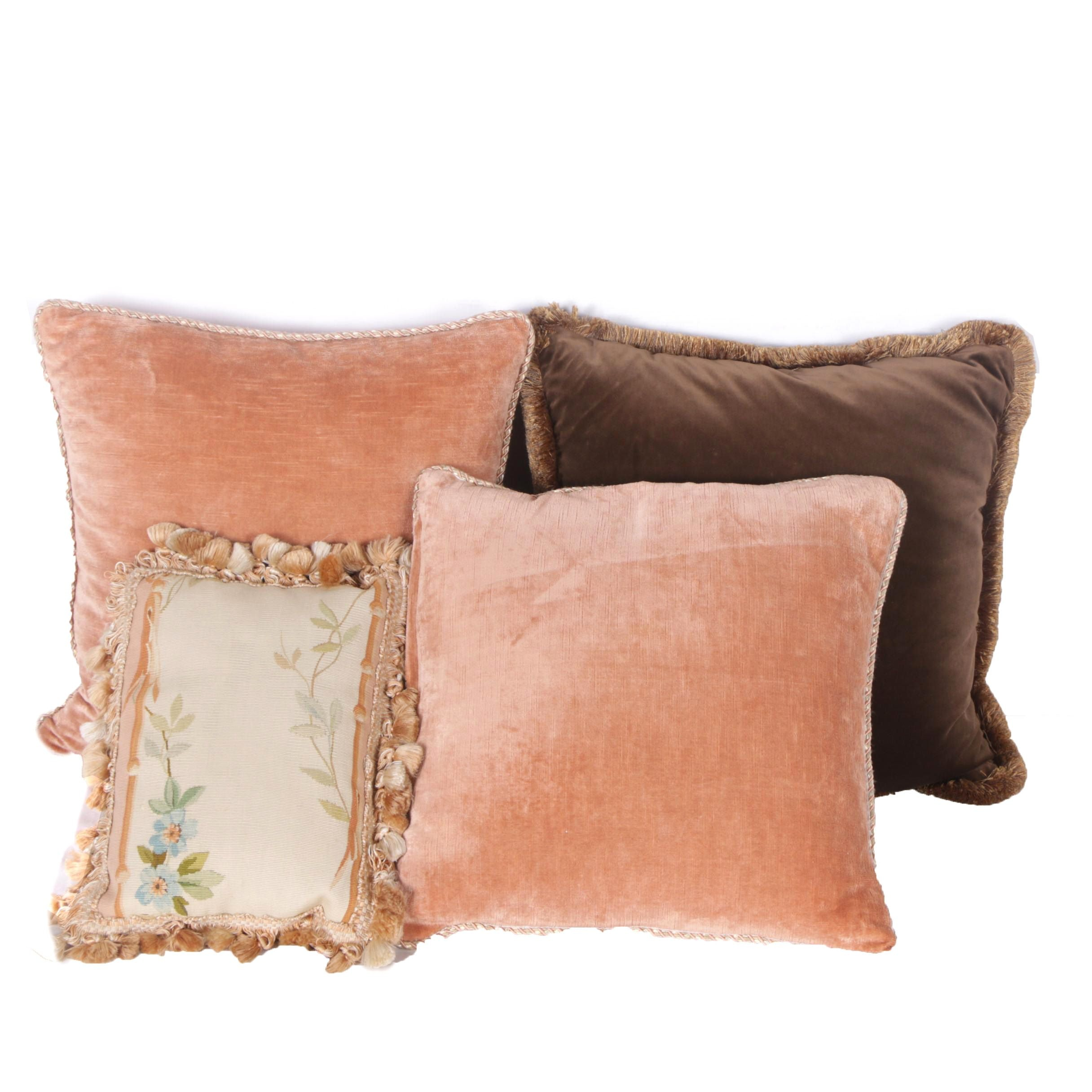 Vintage Throw Pillows with Decorative Trim