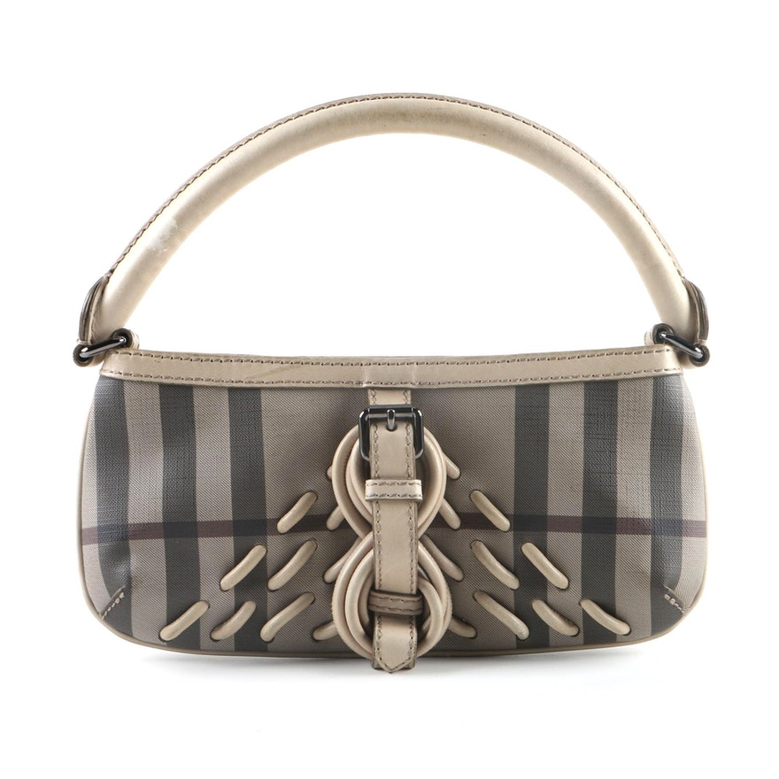 2f2e98373270 Burberry Coated Canvas and Limestone Leather Baguette   EBTH