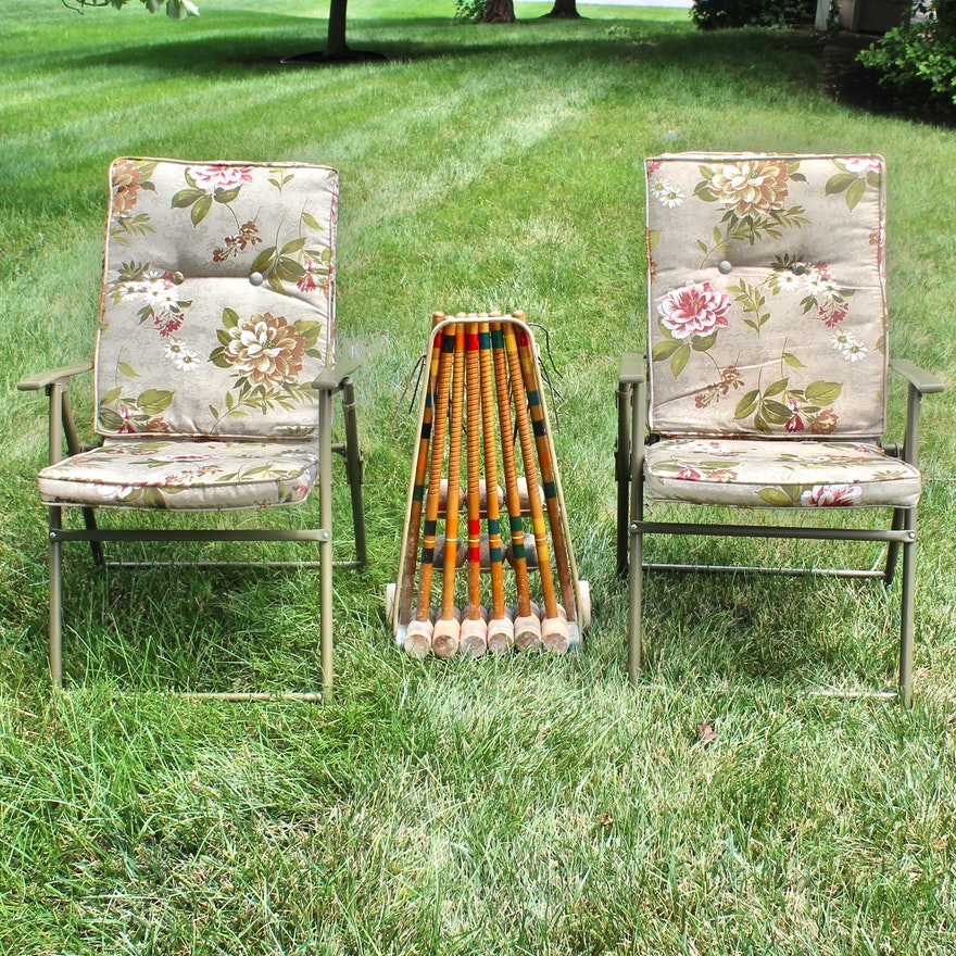 Vintage Wooden Croquet Set and Outdoor Chairs