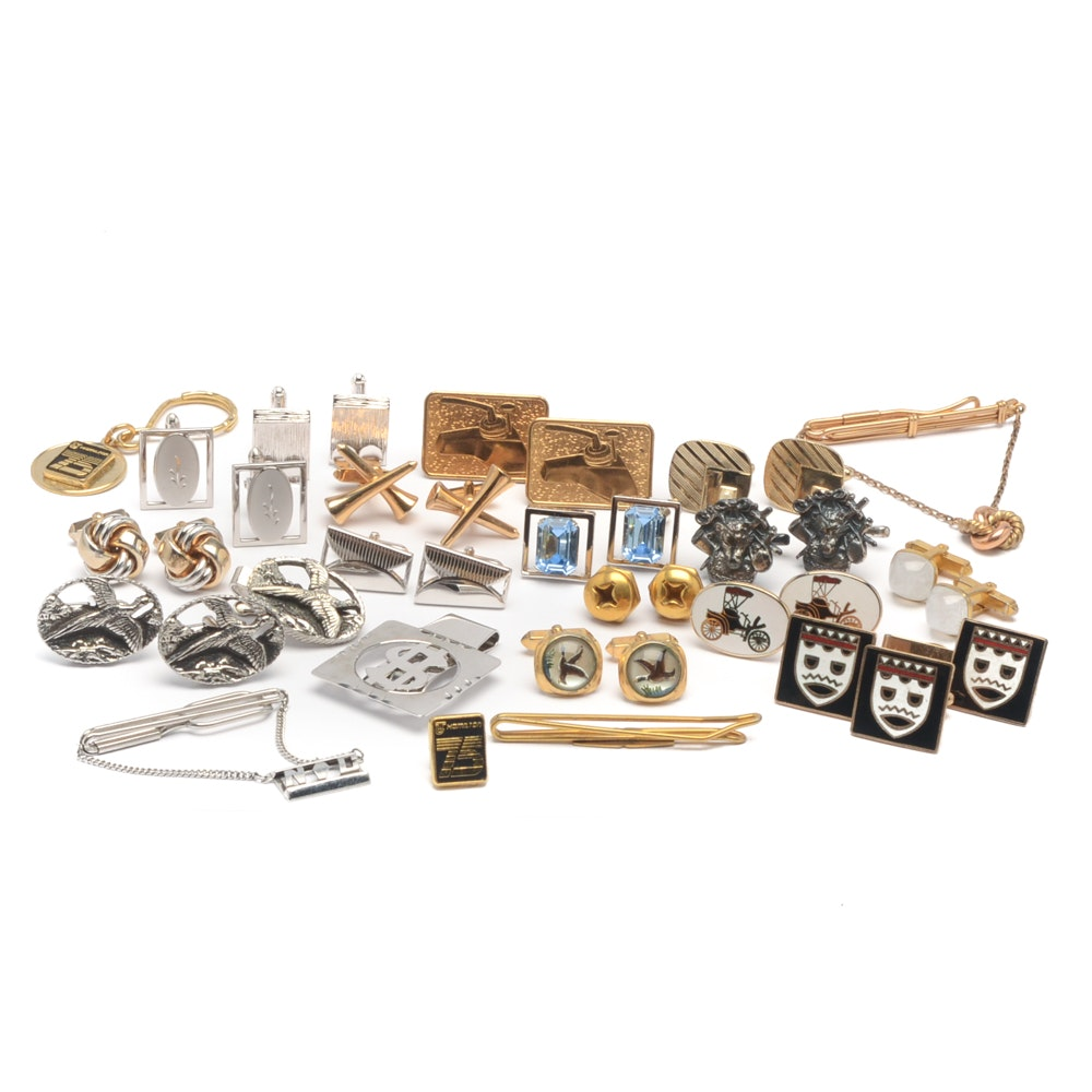 Sterling Silver Money Clip with Gold and Silver Tone Cufflinks and Tie Clips