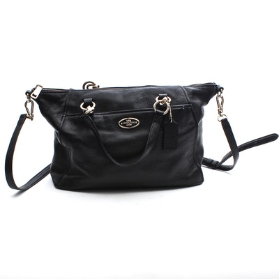 70ea7adb8da6 Coach Black Leather Top-Handle Convertible Crossbody Bag
