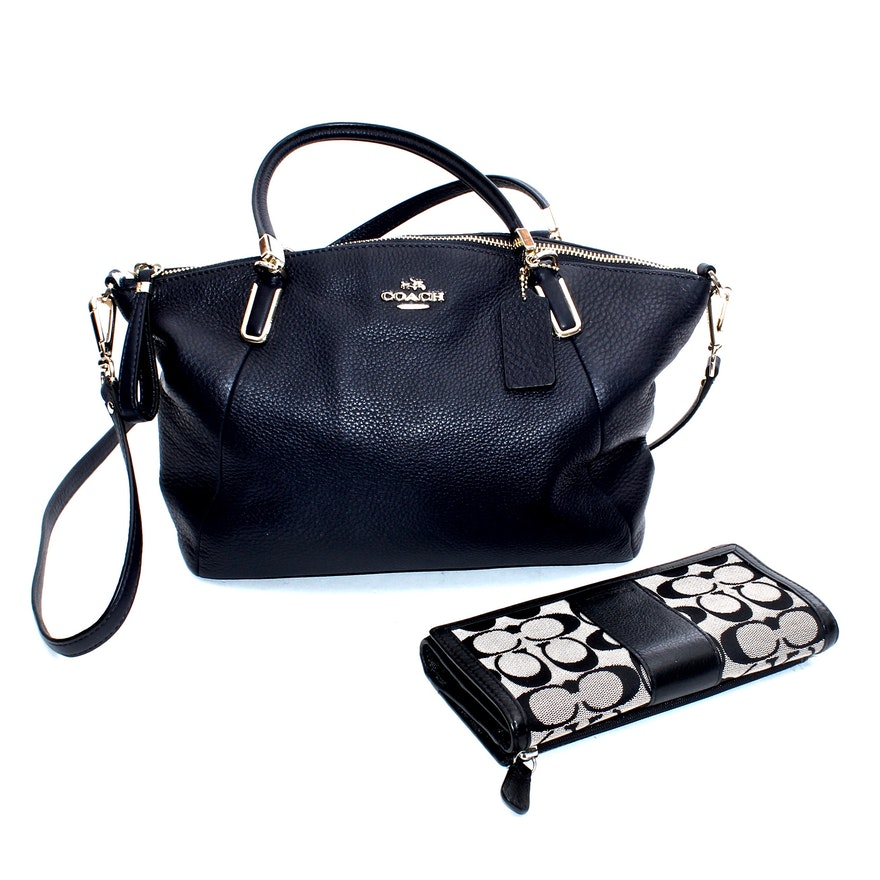 1007a2aca76a22 Coach Navy Blue Leather Top-Handle Bag with Canvas and Leather Billfold  Wallet : EBTH