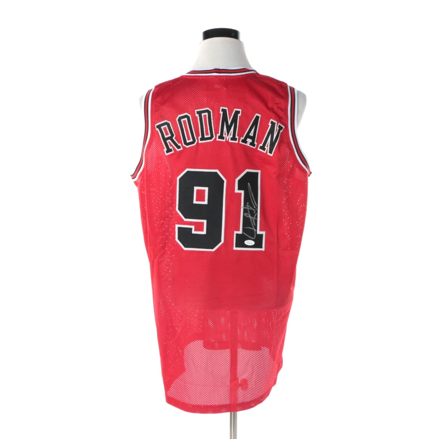 363030fc1 Dennis Rodman Autographed Chicago Bulls Jersey JSA COA   EBTH
